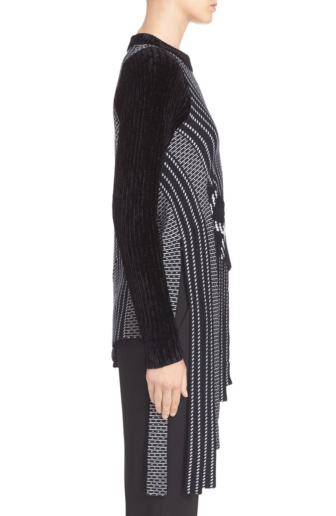 Draped Jacquard & Chenille Sweater,                             Alternate thumbnail 3, color,                             001