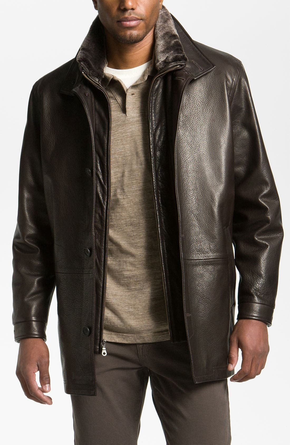 REMY LEATHER Calfskin Leather Jacket, Main, color, 205