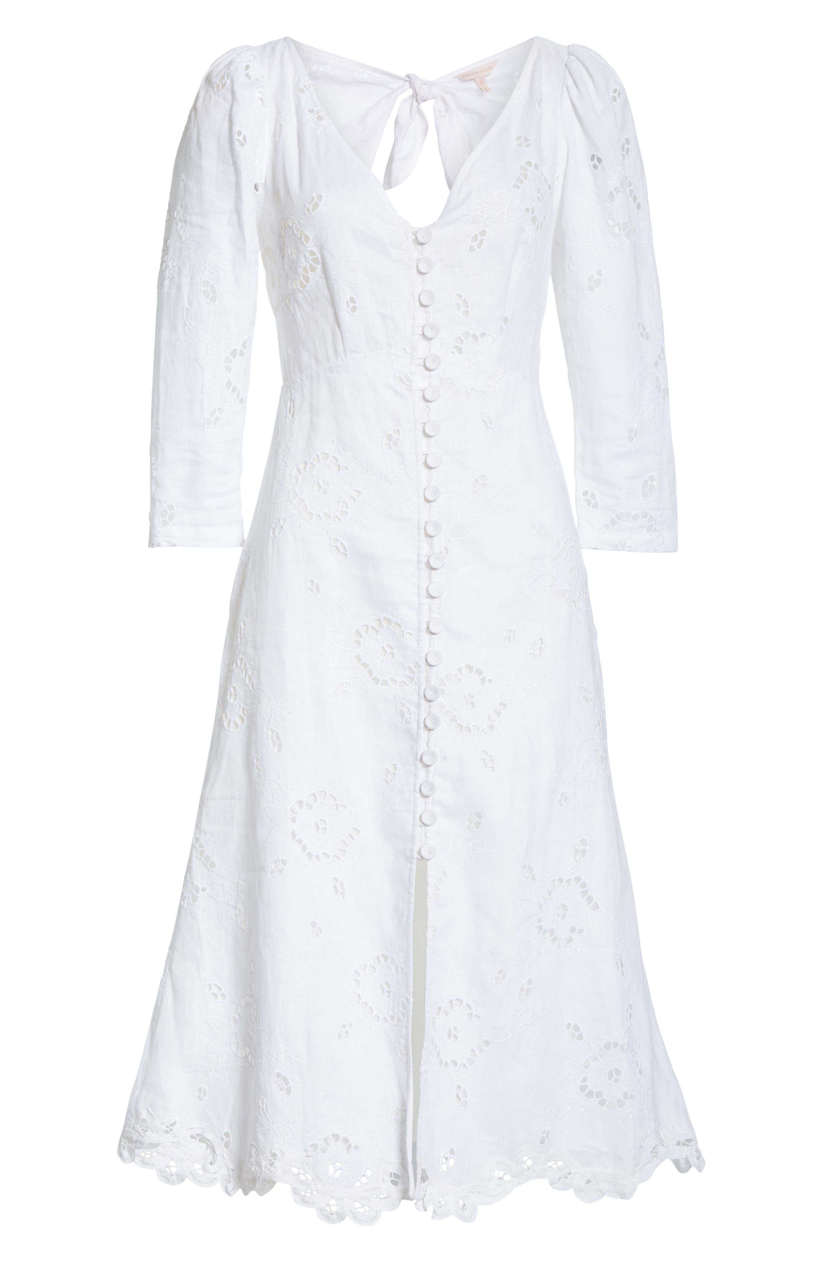 REBECCA TAYLOR,                             Terri Embroidered A-Line Dress,                             Alternate thumbnail 6, color,                             MILK