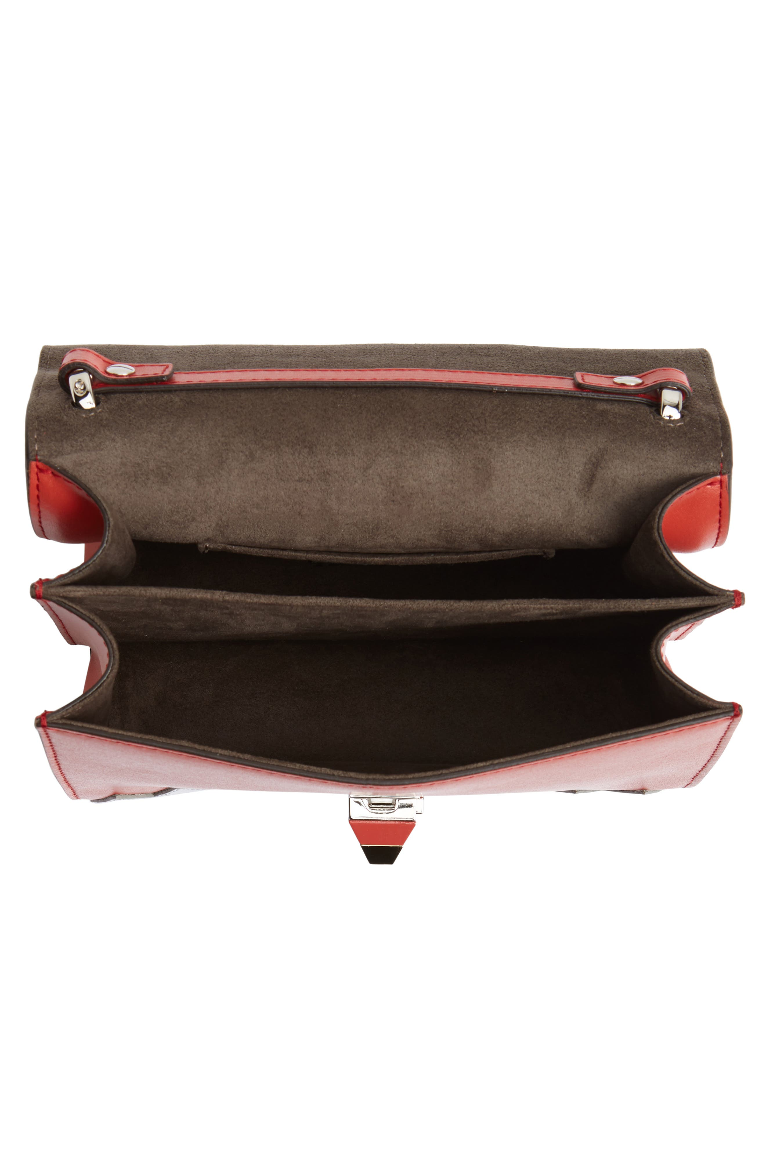 Mini Kan I Faces Leather Shoulder Bag,                             Alternate thumbnail 4, color,                             BLOODY MARY