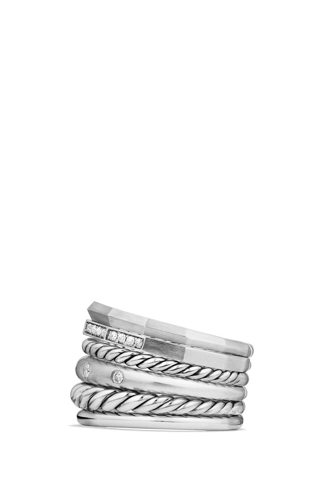 'Stax' Wide Diamond Ring,                             Alternate thumbnail 3, color,                             SILVER