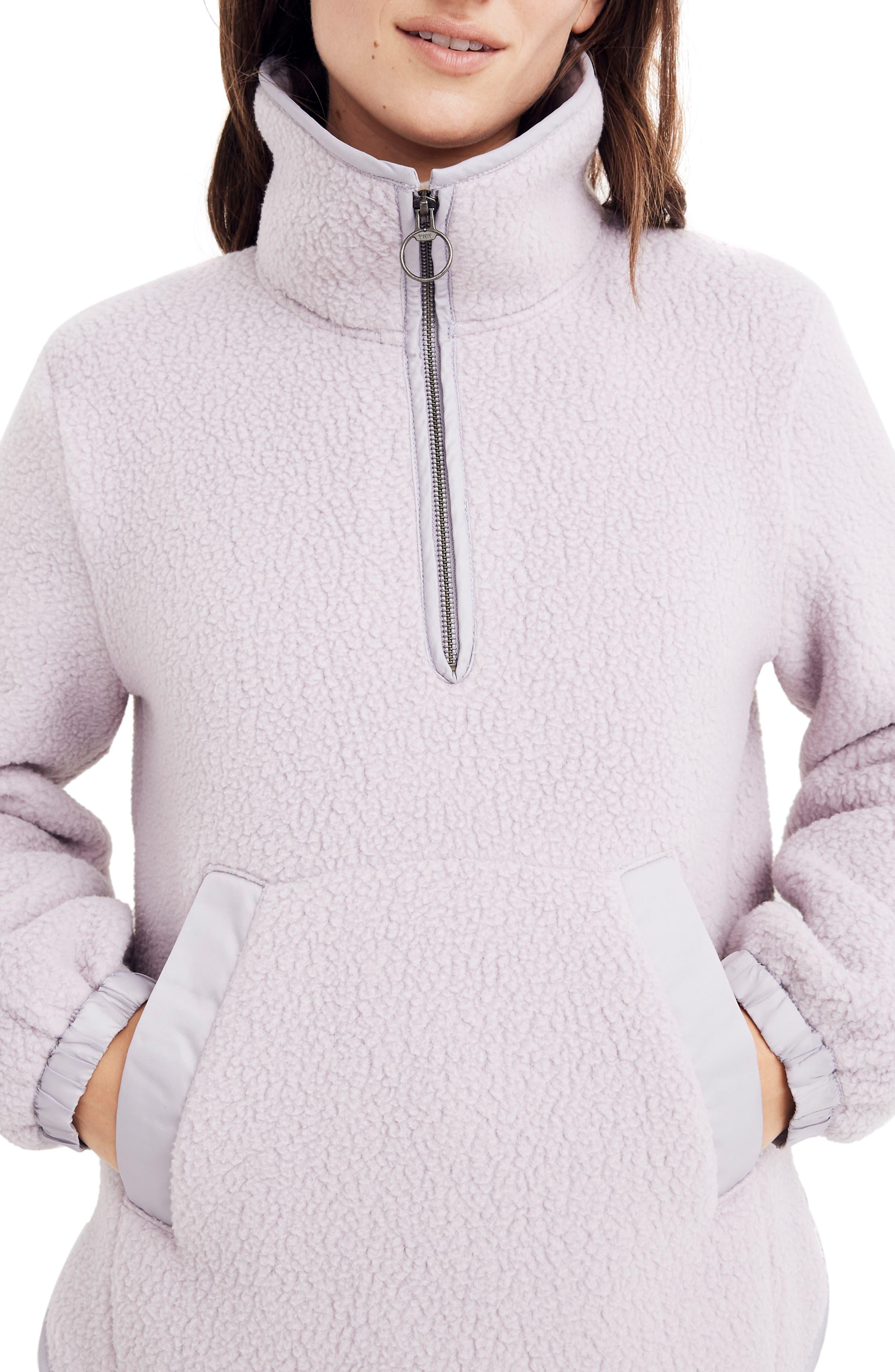 Madewell Polartec Fleece Popover Jacket, Purple