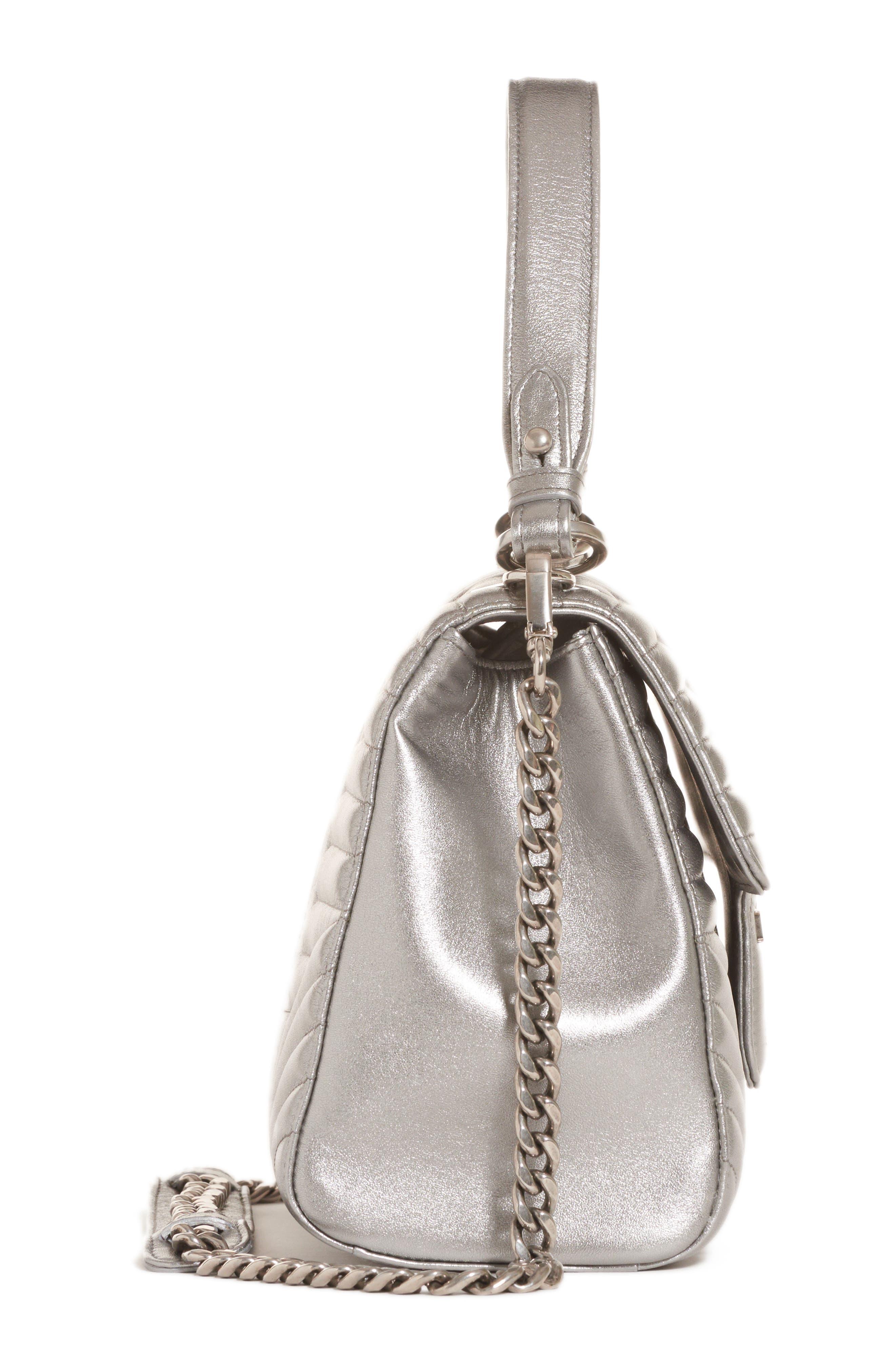 Quilted Metallic Lambskin Leather Handbag,                             Alternate thumbnail 4, color,                             CROMO