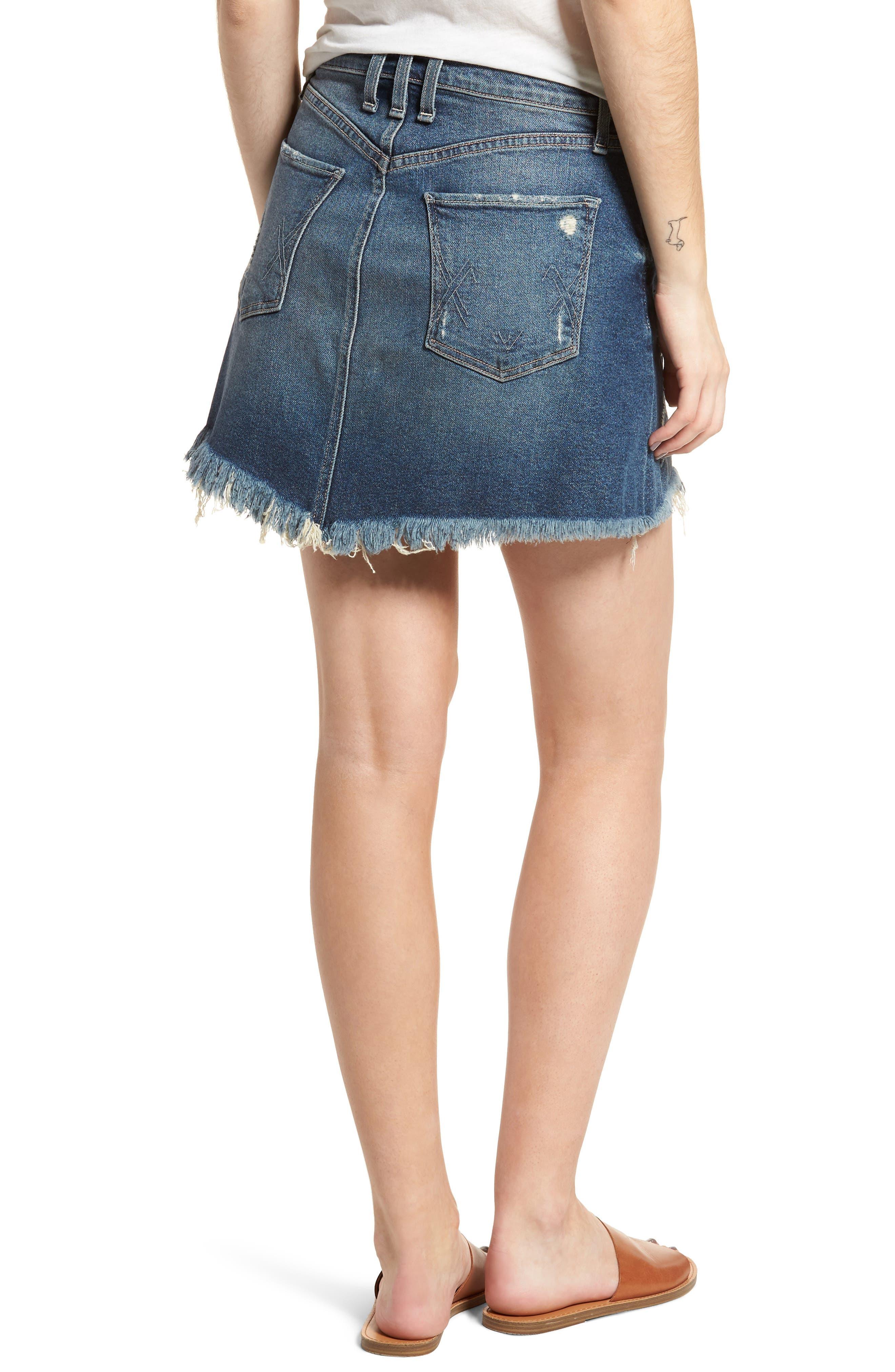 Izabel Angled Hem Denim Skirt,                             Alternate thumbnail 2, color,                             420