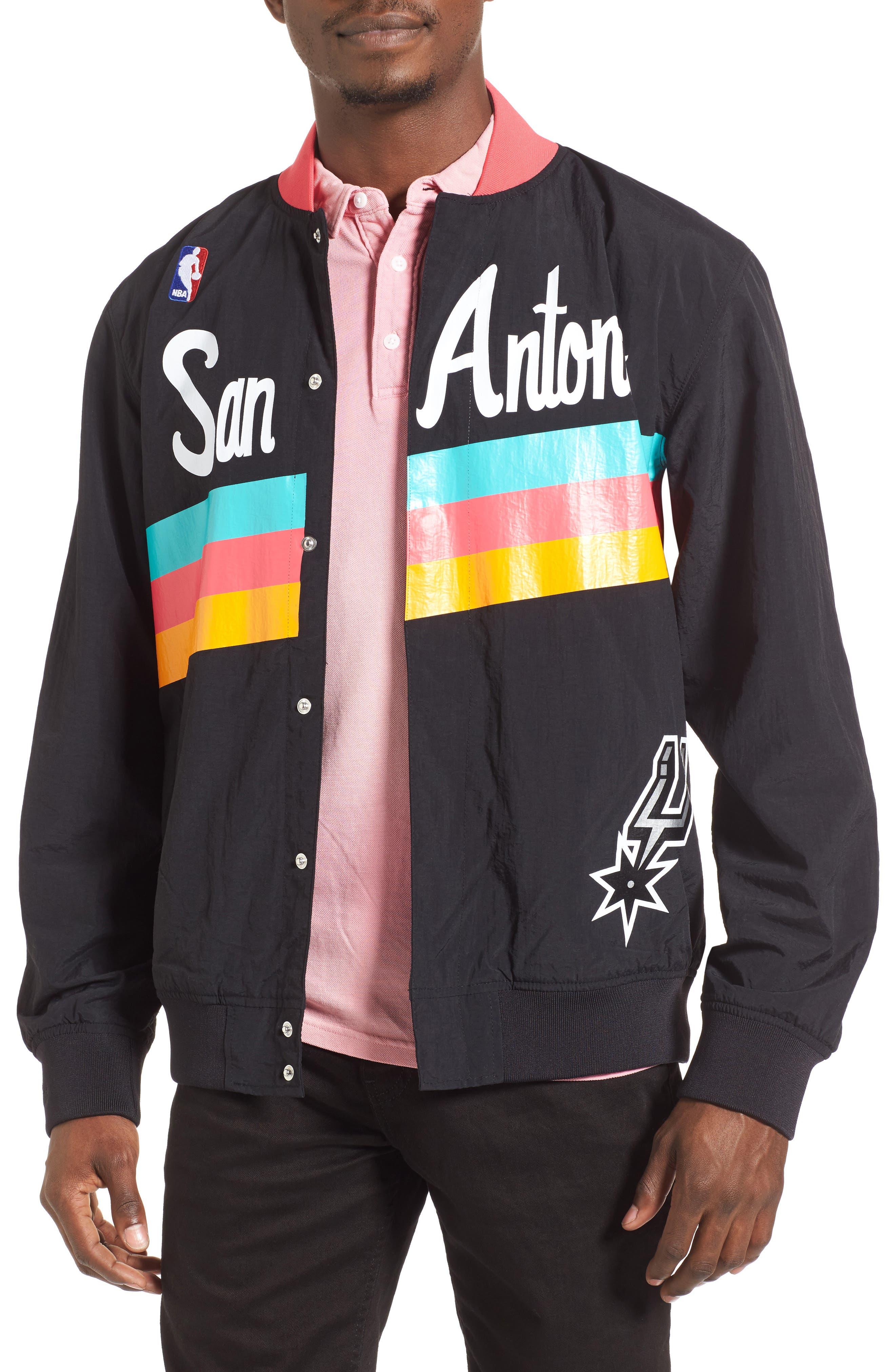 MITCHELL & NESS,                             'San Antonio Spurs' Warm-Up Jacket,                             Alternate thumbnail 2, color,                             001