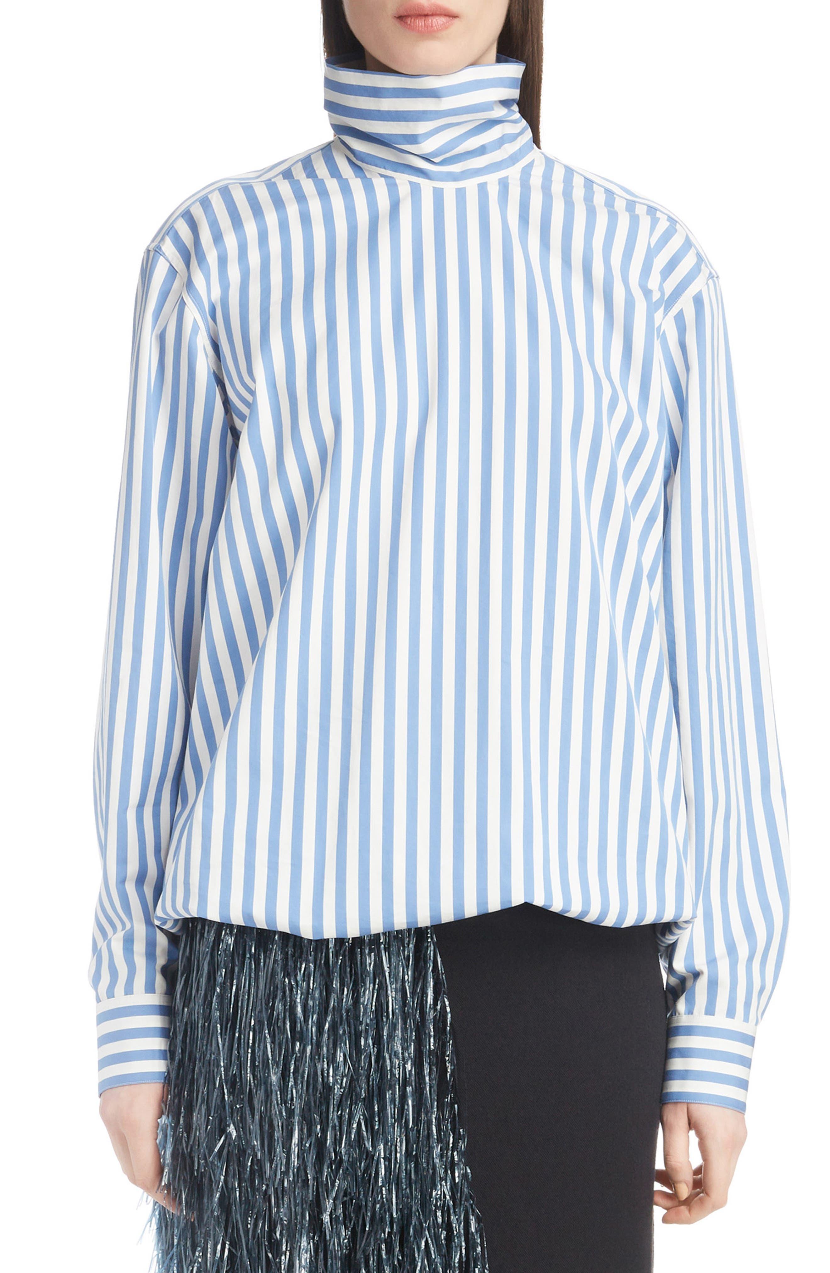 Stripe Poplin Blouse,                             Main thumbnail 1, color,                             MADONNA BLUE