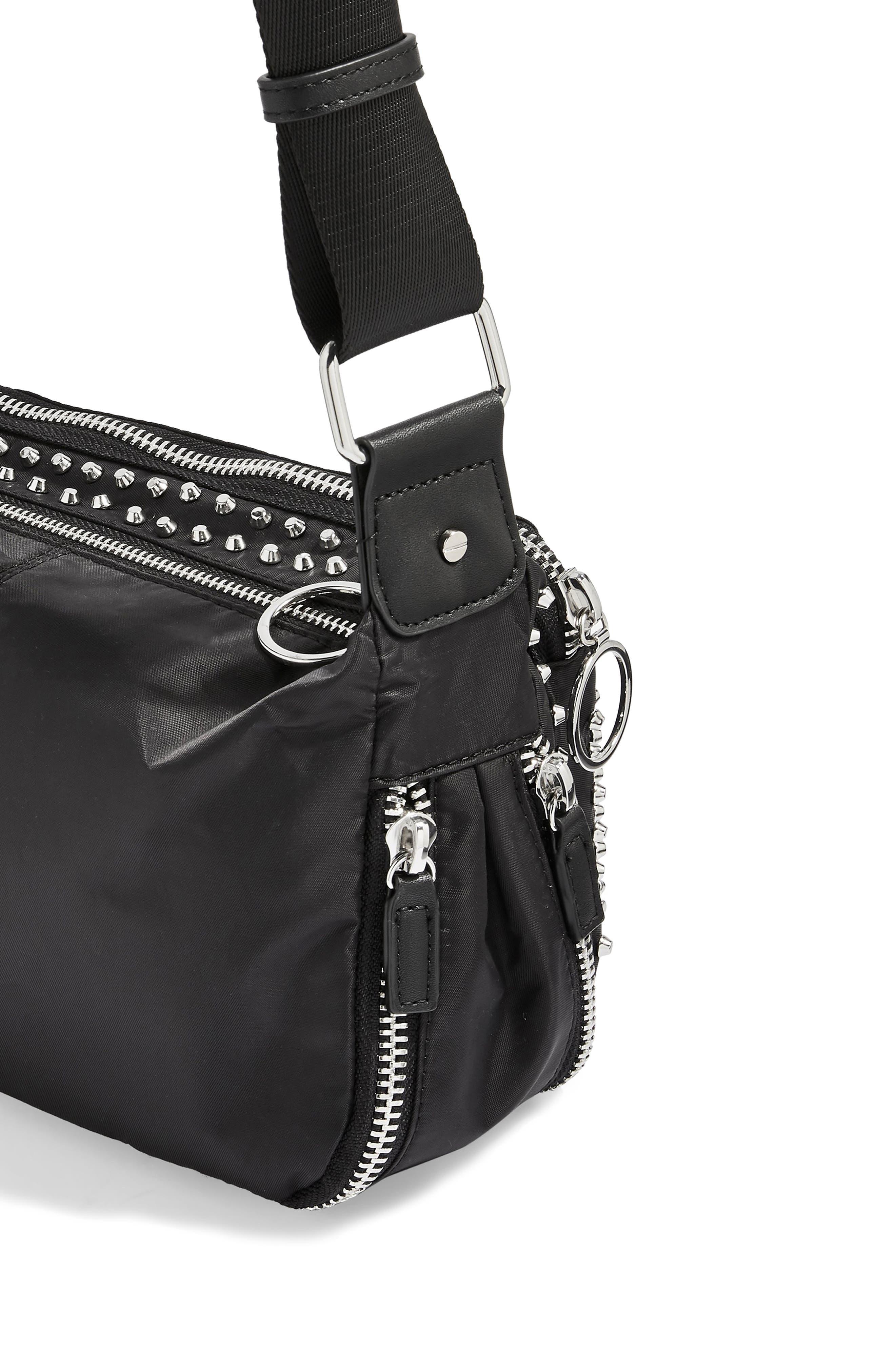 Tokyo Studded Nylon Shoulder Bag,                             Alternate thumbnail 4, color,                             001