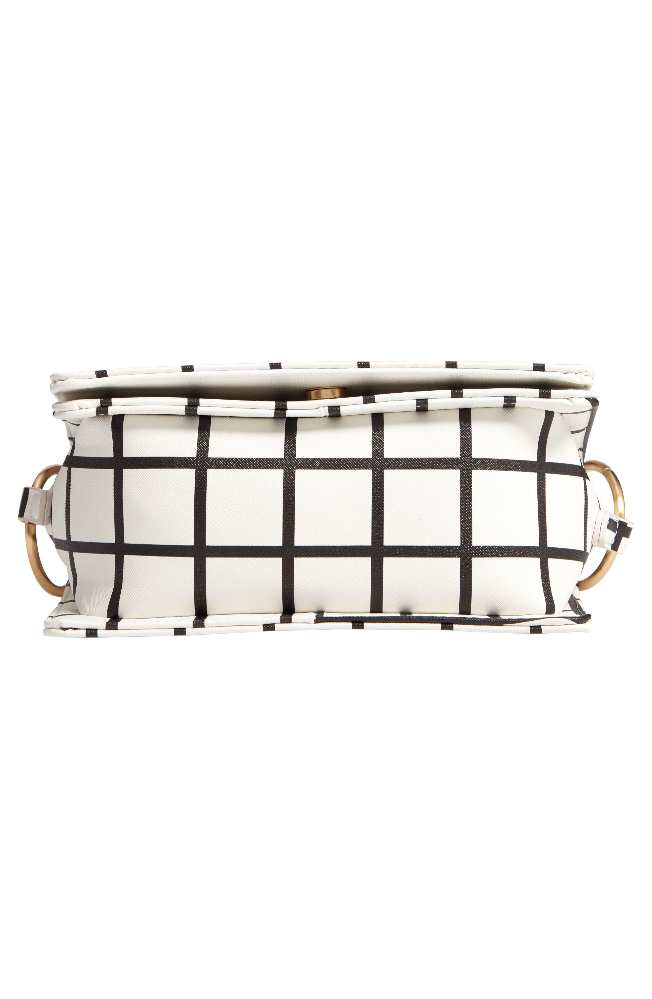 Windowpane Check Faux Leather Crossbody Bag,                             Alternate thumbnail 6, color,                             BLACK/ WHITE
