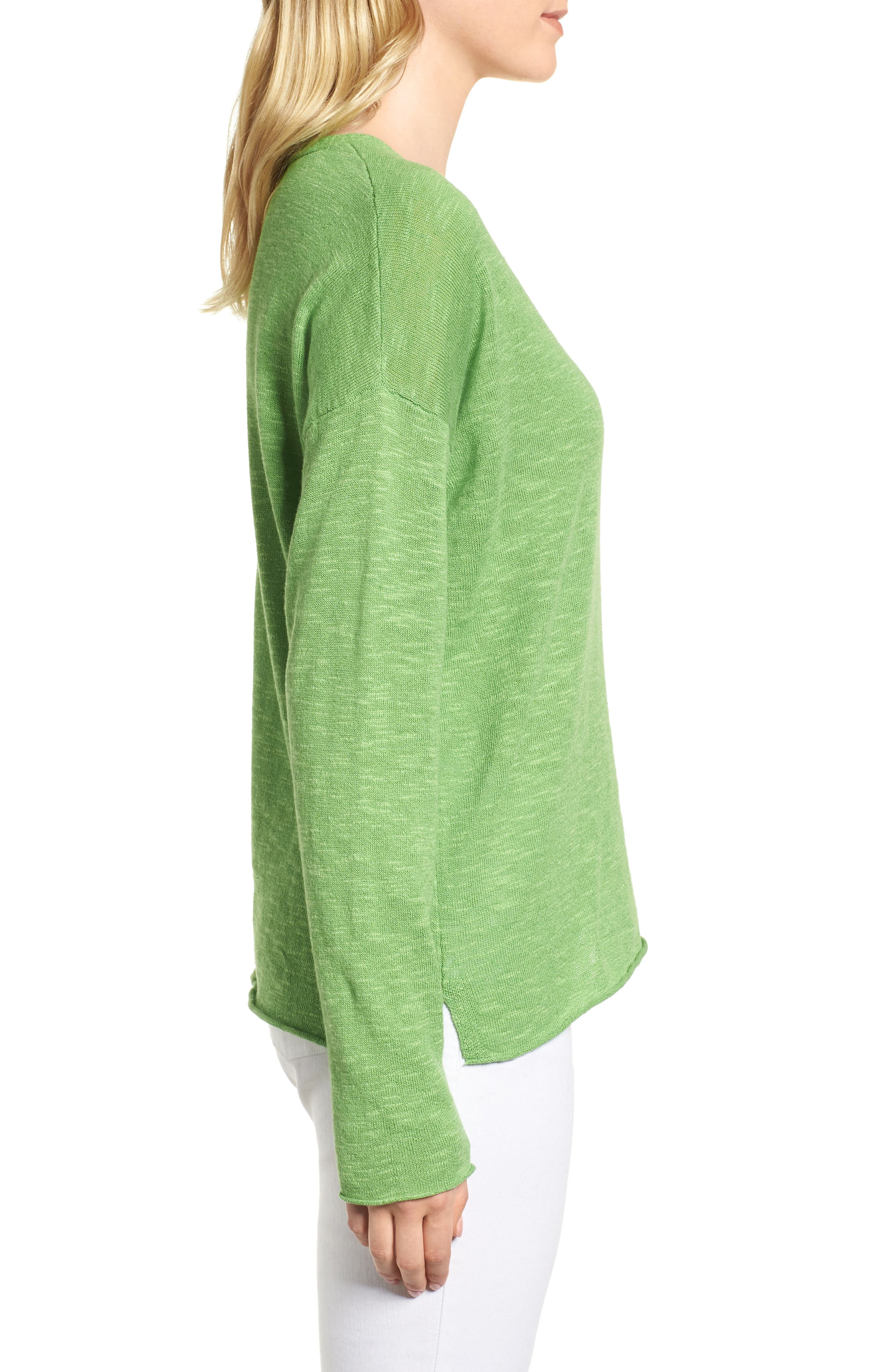 Boxy Organic Linen & Cotton Sweater,                             Alternate thumbnail 11, color,