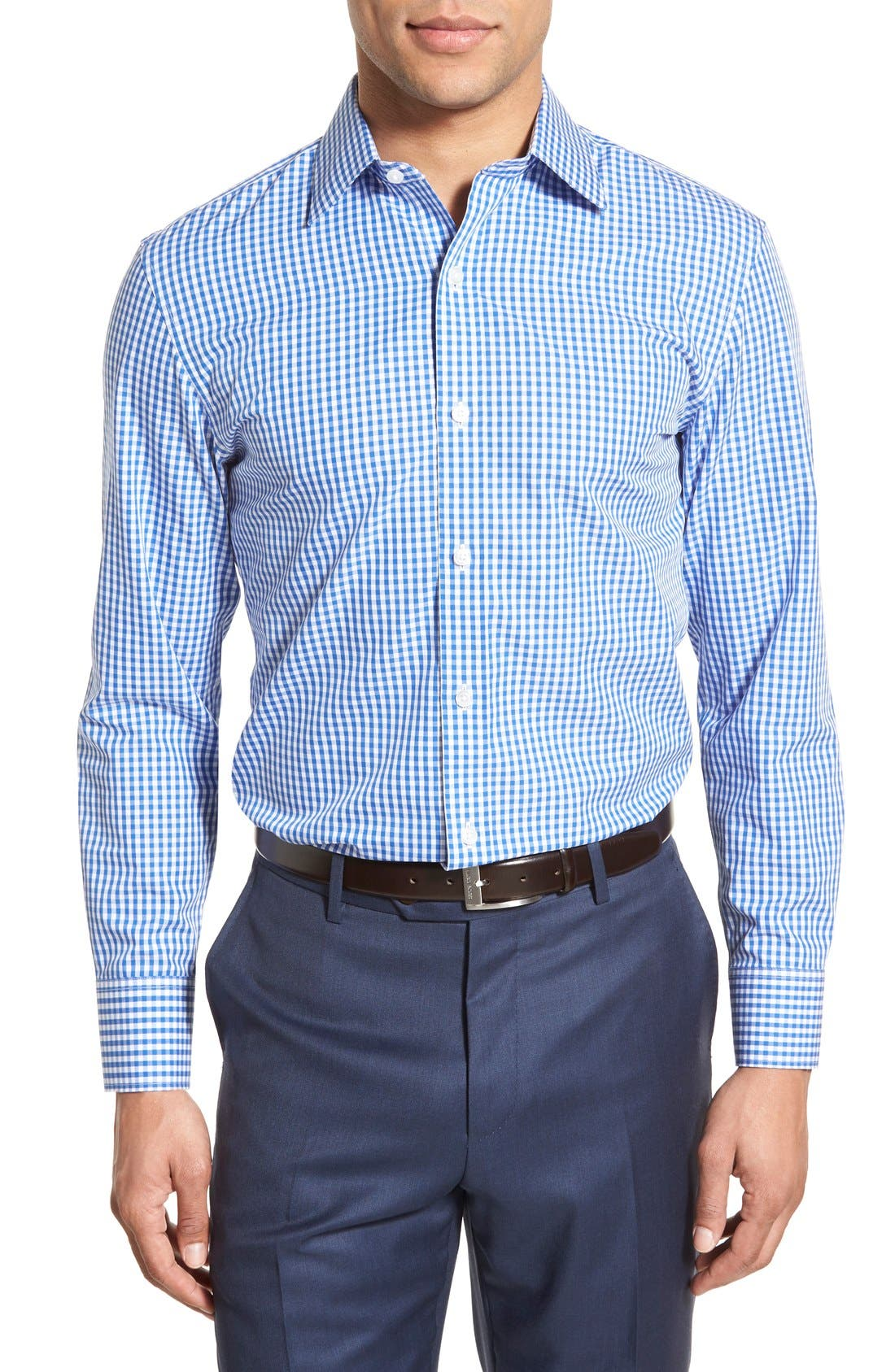 Slim Fit Wrinkle Free Check Dress Shirt,                             Alternate thumbnail 2, color,                             BAY BLUE