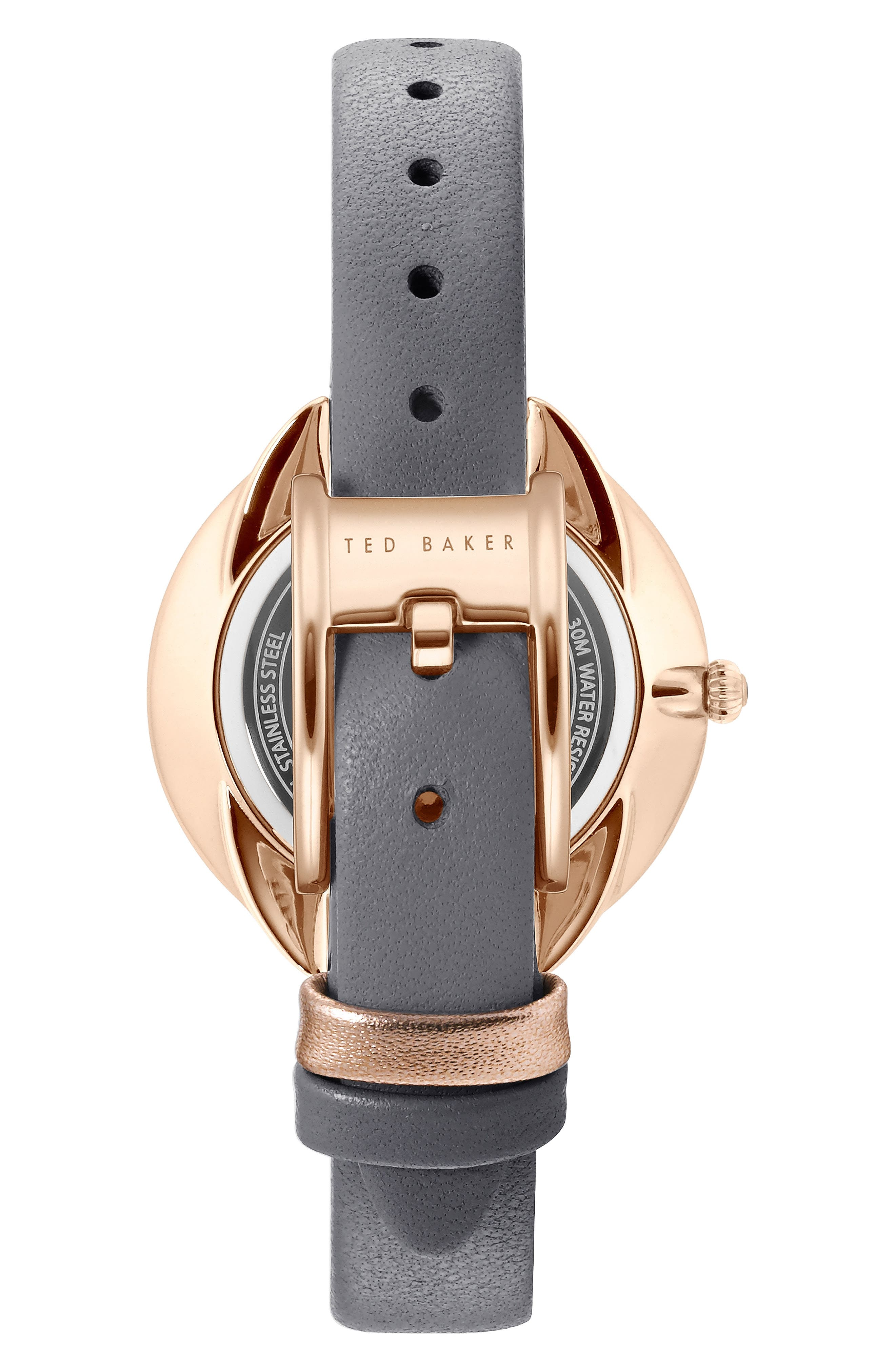 Elena Leather Strap Watch, 30mm,                             Alternate thumbnail 2, color,                             GREY/ MOP/ ROSE GOLD
