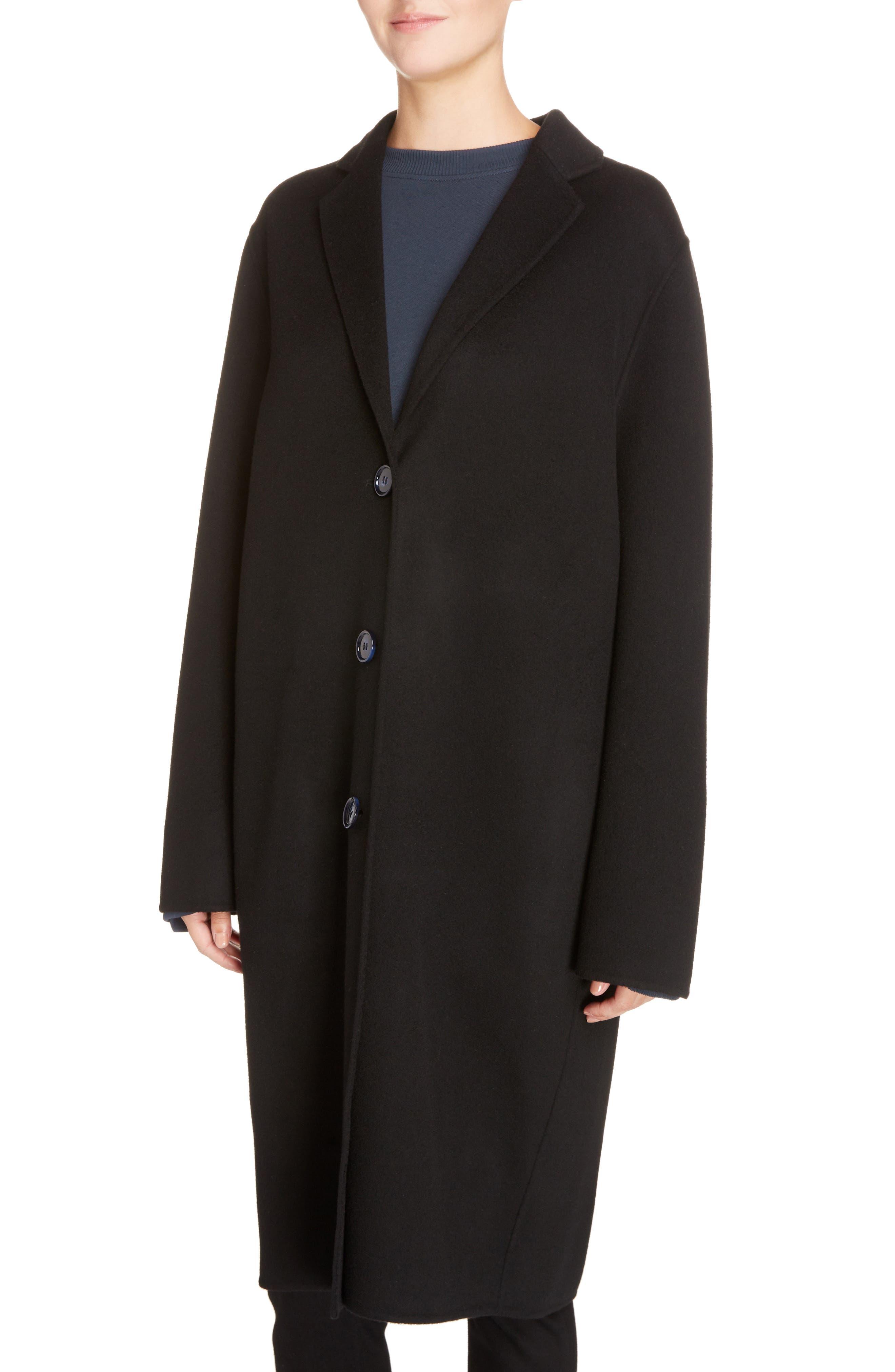 Avalon Wool & Cashmere Coat,                             Alternate thumbnail 4, color,                             BLACK