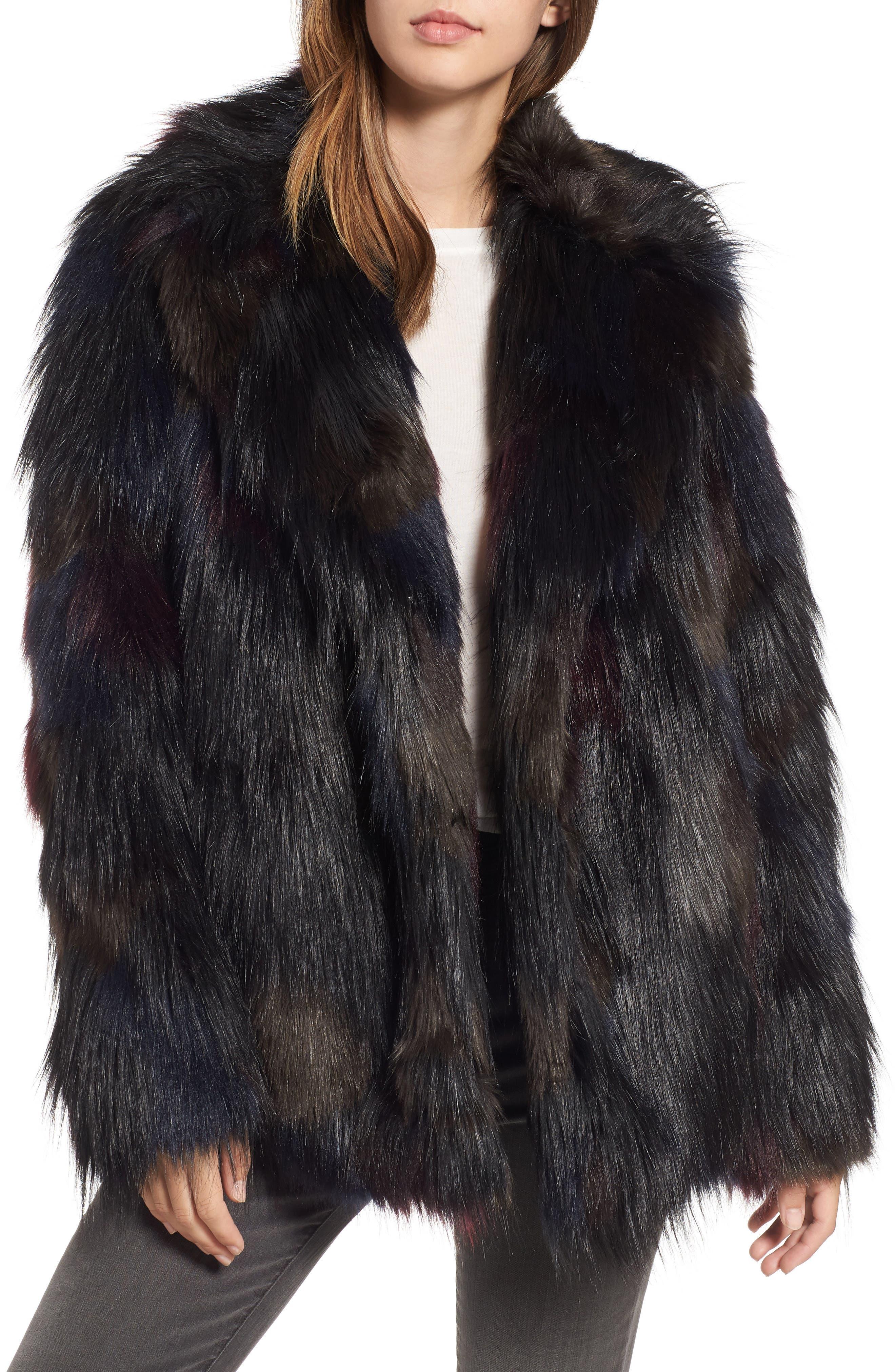 Multicolored Faux Fur Jacket,                         Main,                         color, MULTI