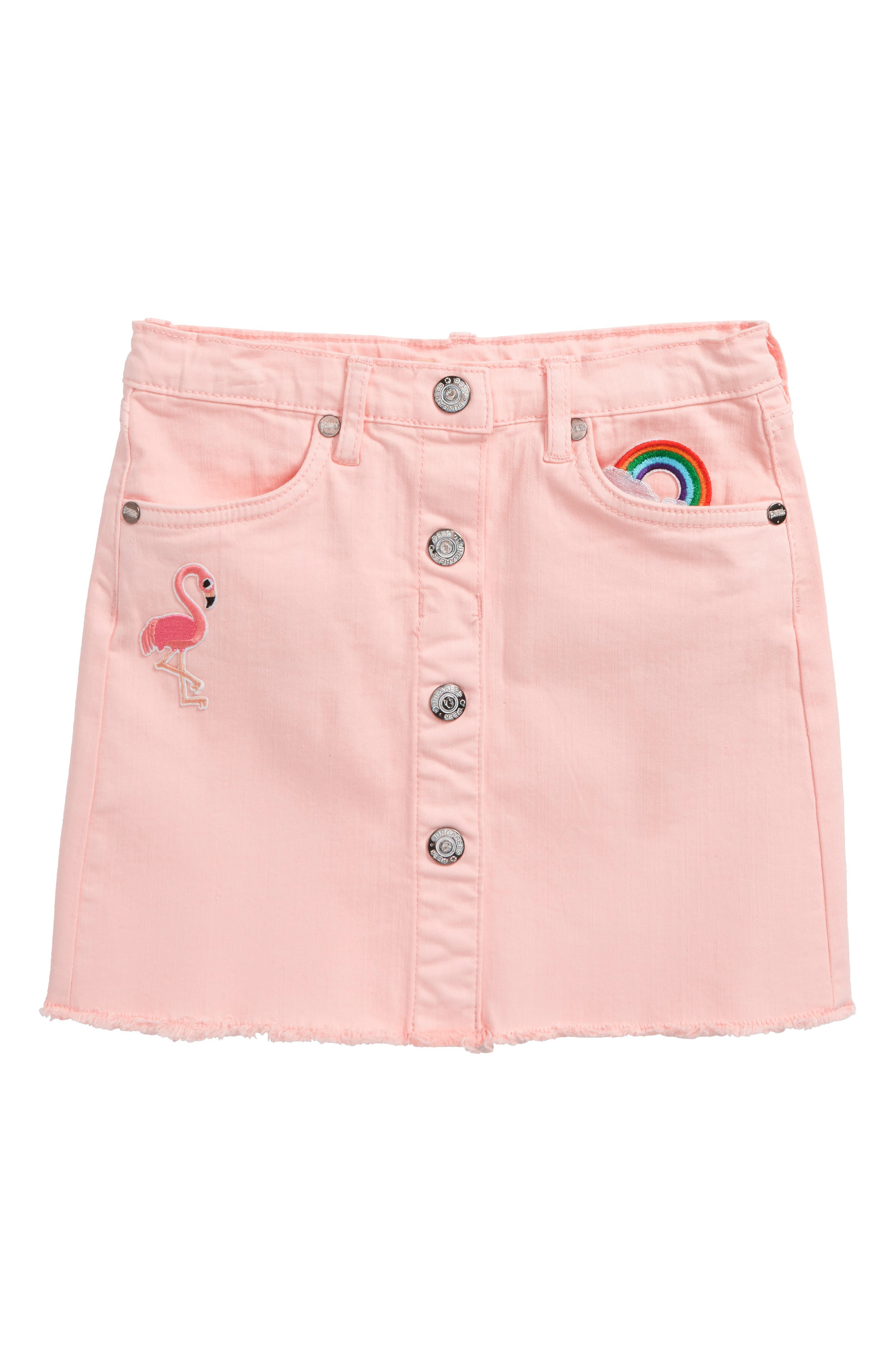 Flamingo Denim Skirt,                         Main,                         color,