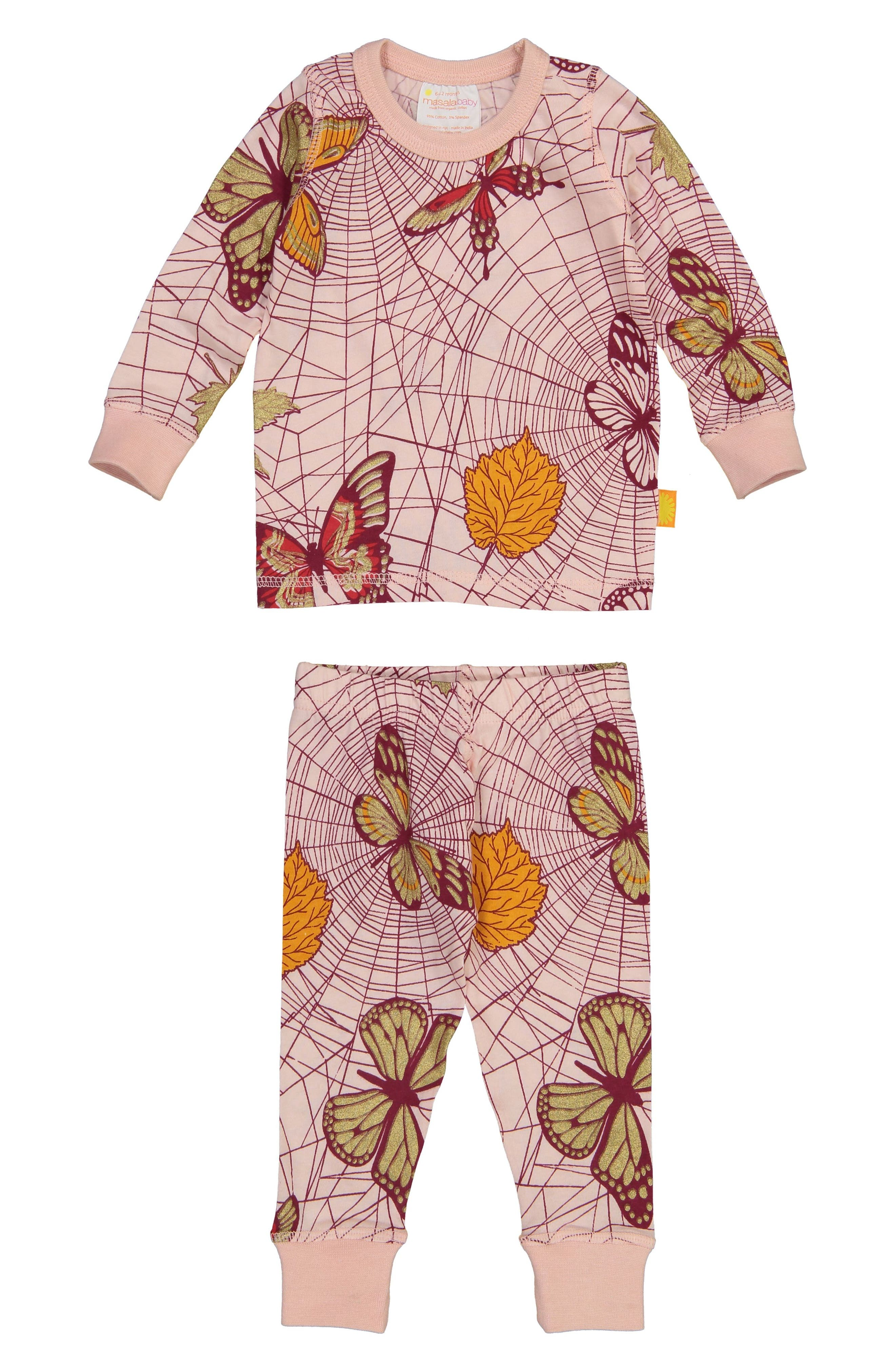 Spiderweb Organic Cotton Fitted Two-Piece Pajamas,                             Alternate thumbnail 2, color,                             PINK