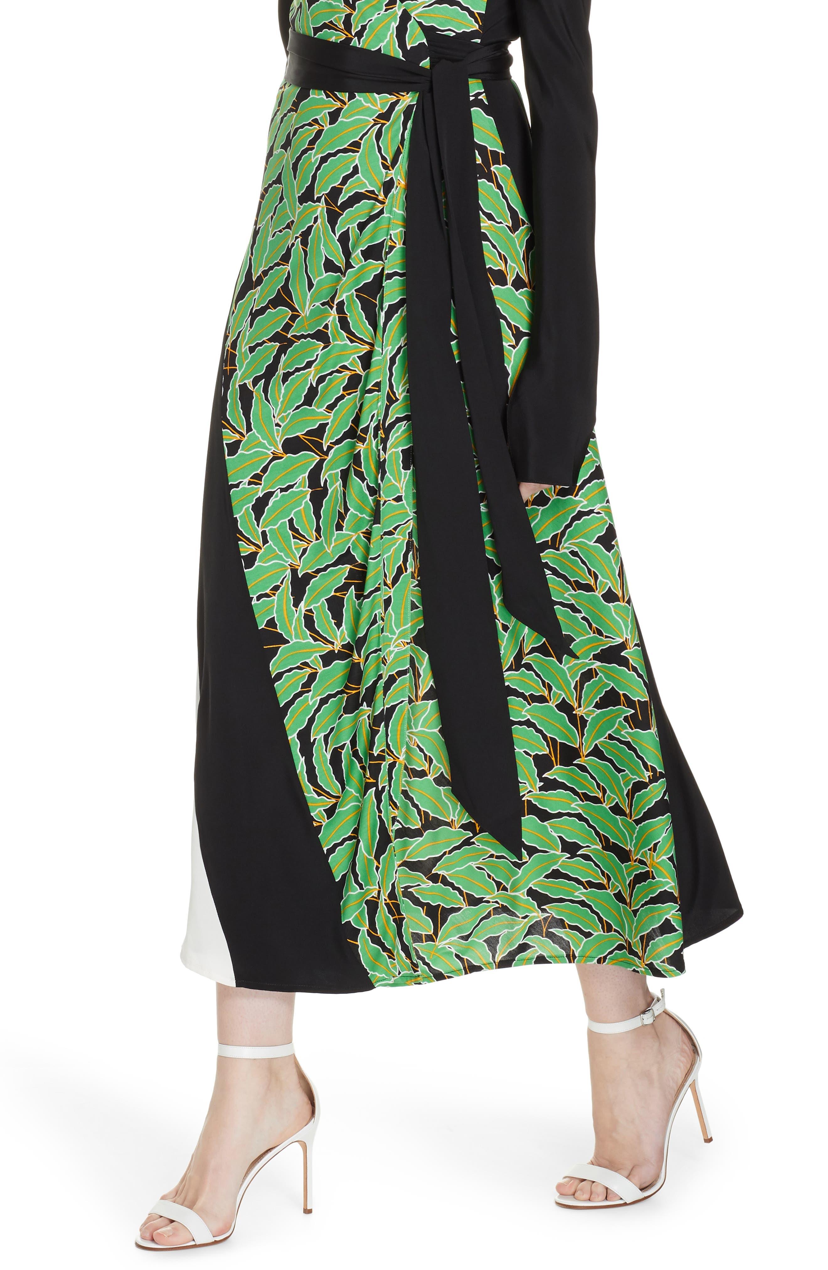 Maureen Leaf Print Silk Wrap Dress,                             Alternate thumbnail 4, color,                             WINDSOR PALM BLACK MULTI