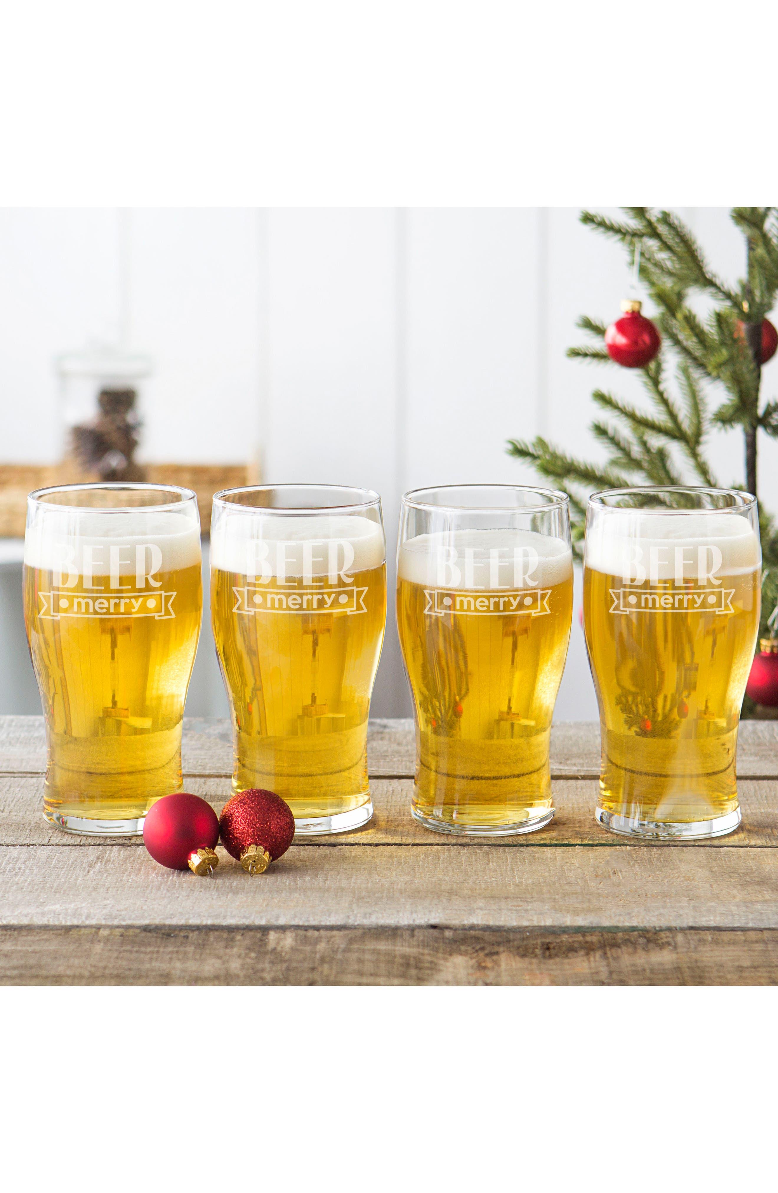 Beer Merry Set of 4 Pilsner Glasses,                             Alternate thumbnail 2, color,                             CLEAR