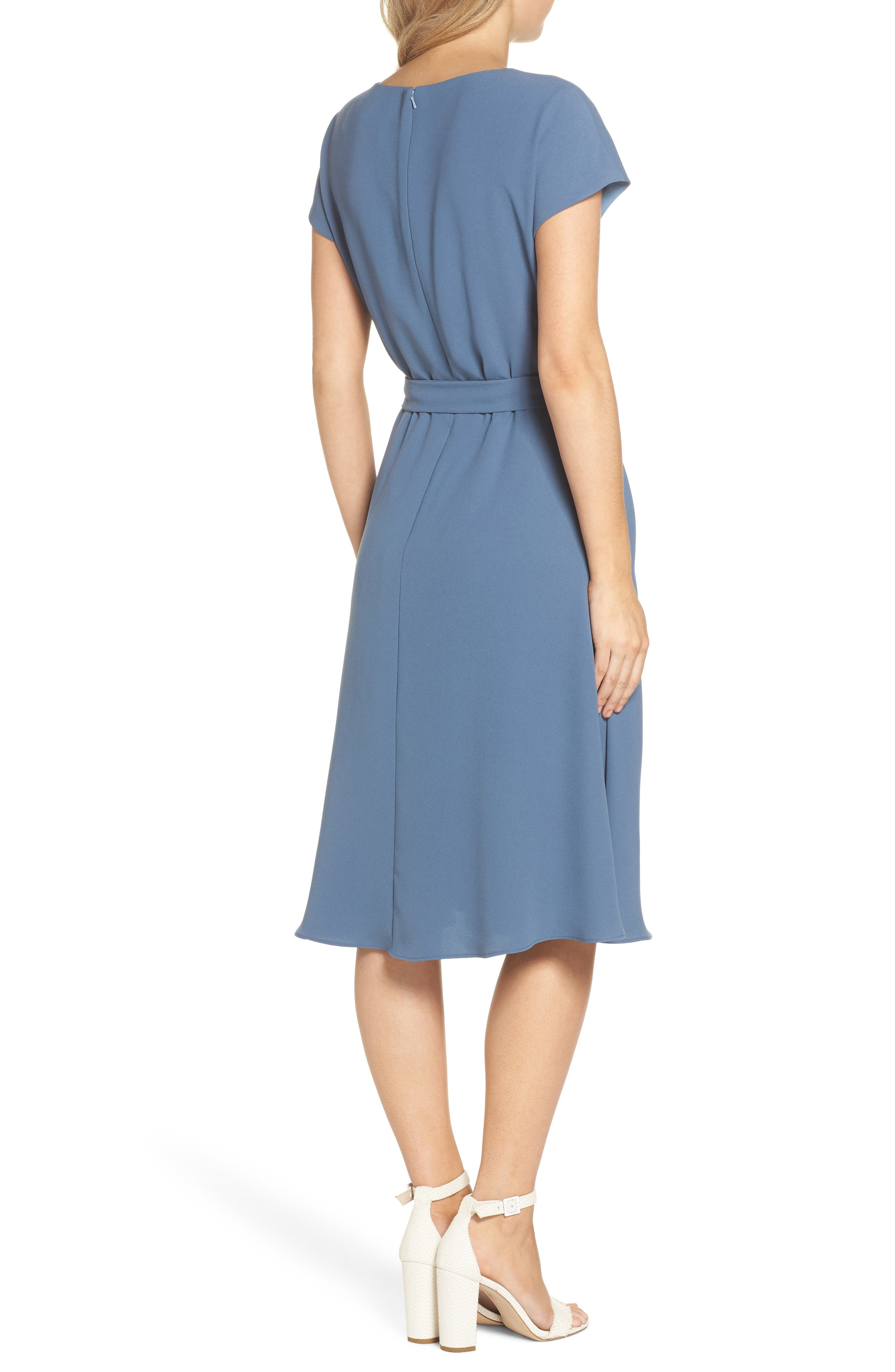 Vivian Twist Neck Fit & Flare Dress,                             Alternate thumbnail 2, color,                             DUSTY BLUE