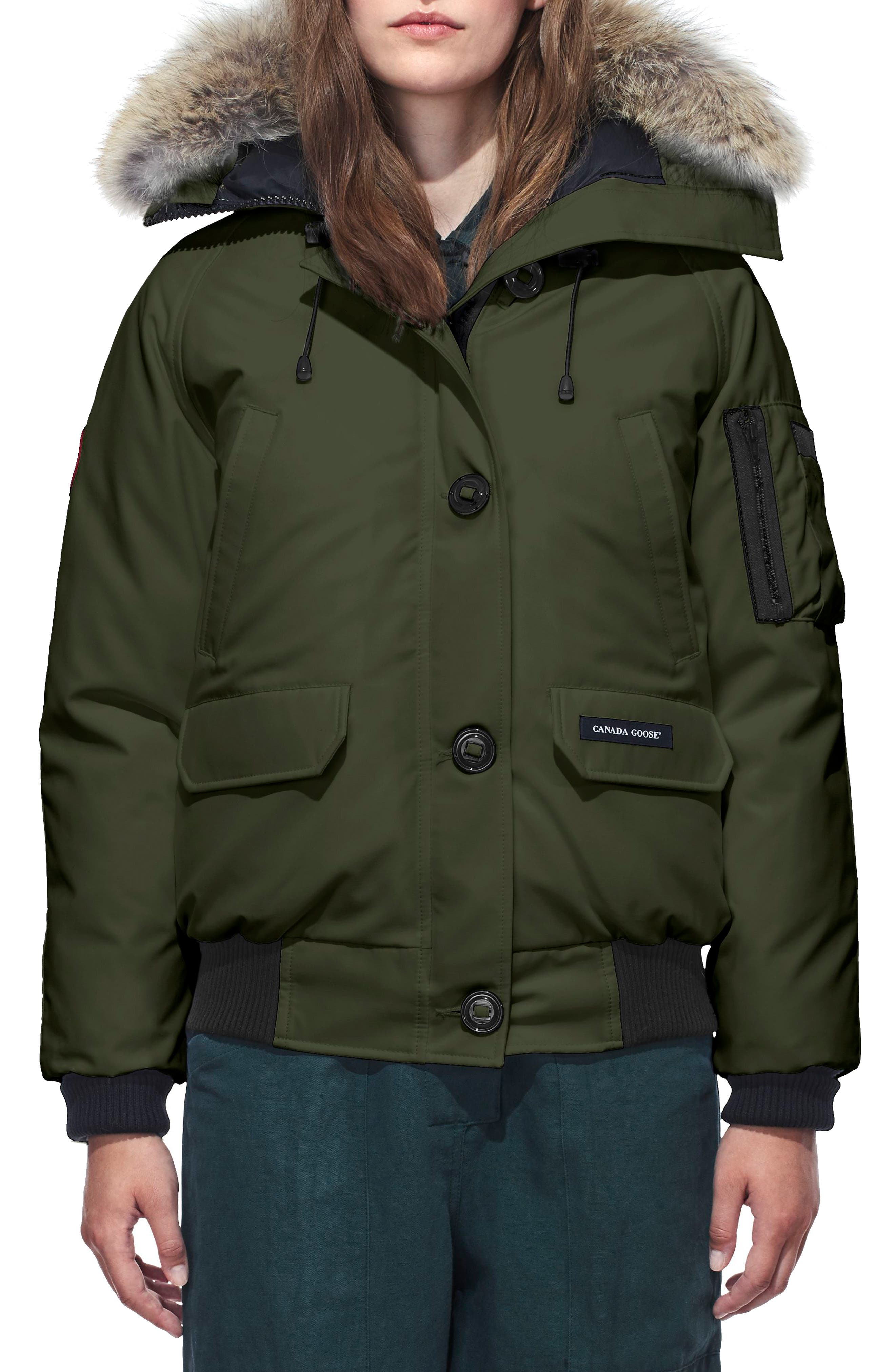 Chilliwack Hooded Down Bomber Jacket with Genuine Coyote Fur Trim,                             Main thumbnail 1, color,                             MILITARY GREEN