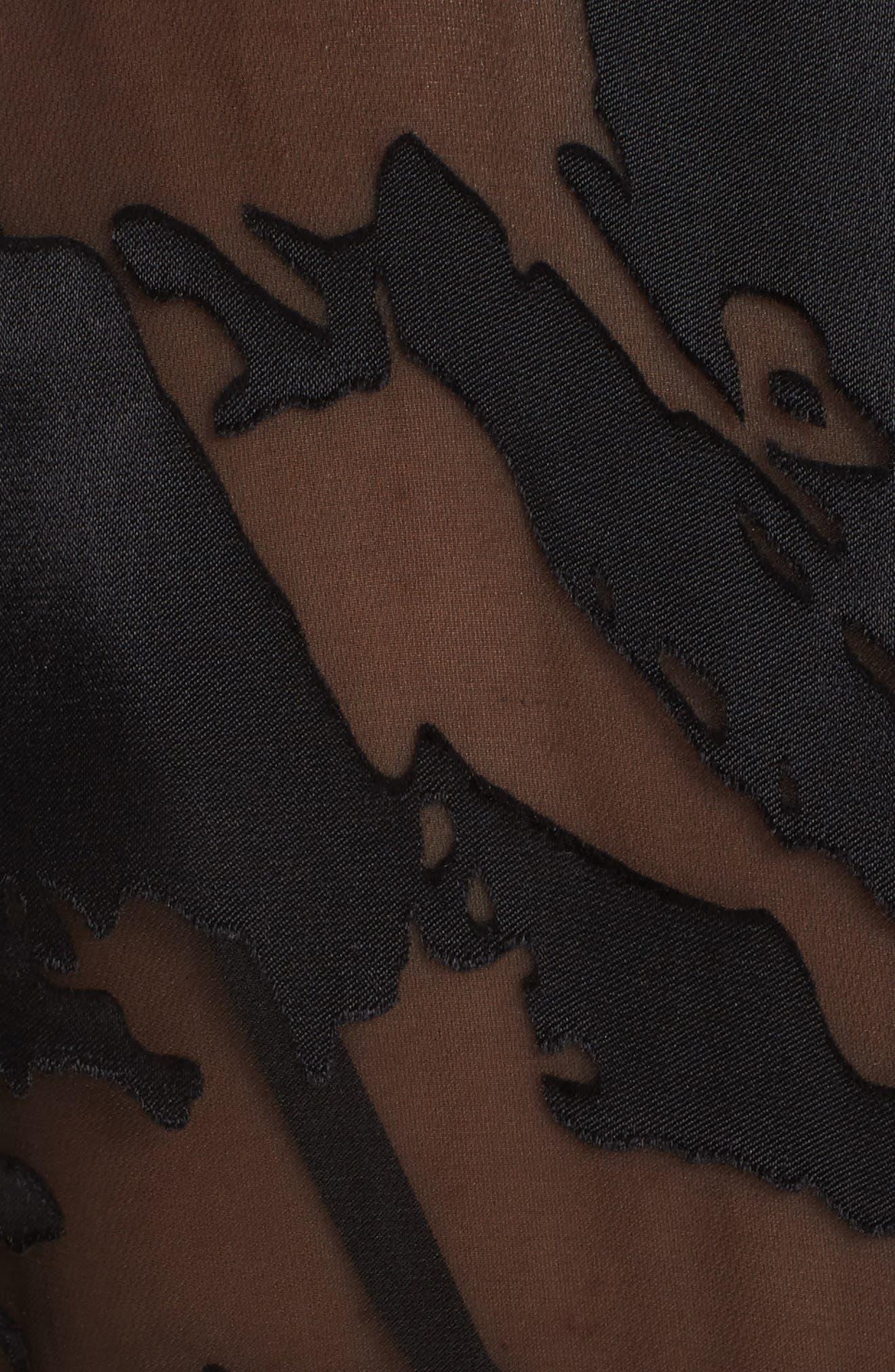 CUSHNIE,                             Burnout High Neck Blouse,                             Alternate thumbnail 5, color,                             BLACK FLORAL