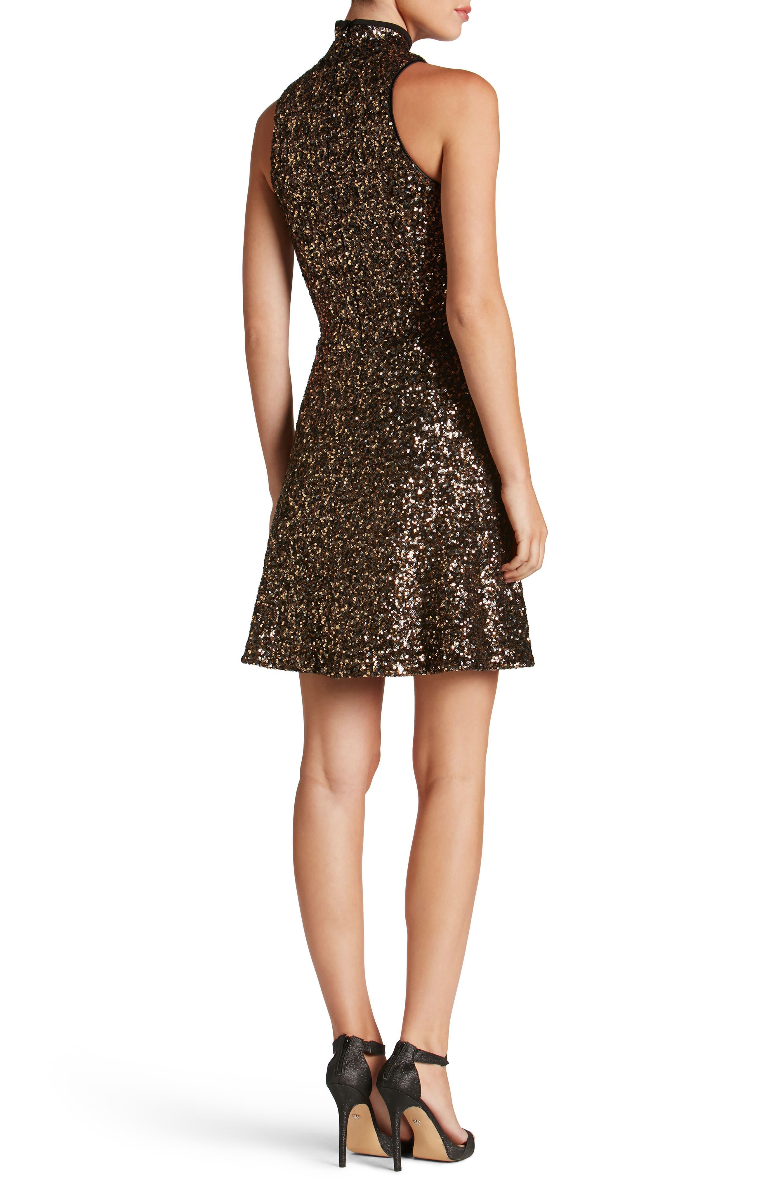 Stevie Sequin Fit & Flare Dress,                             Alternate thumbnail 6, color,