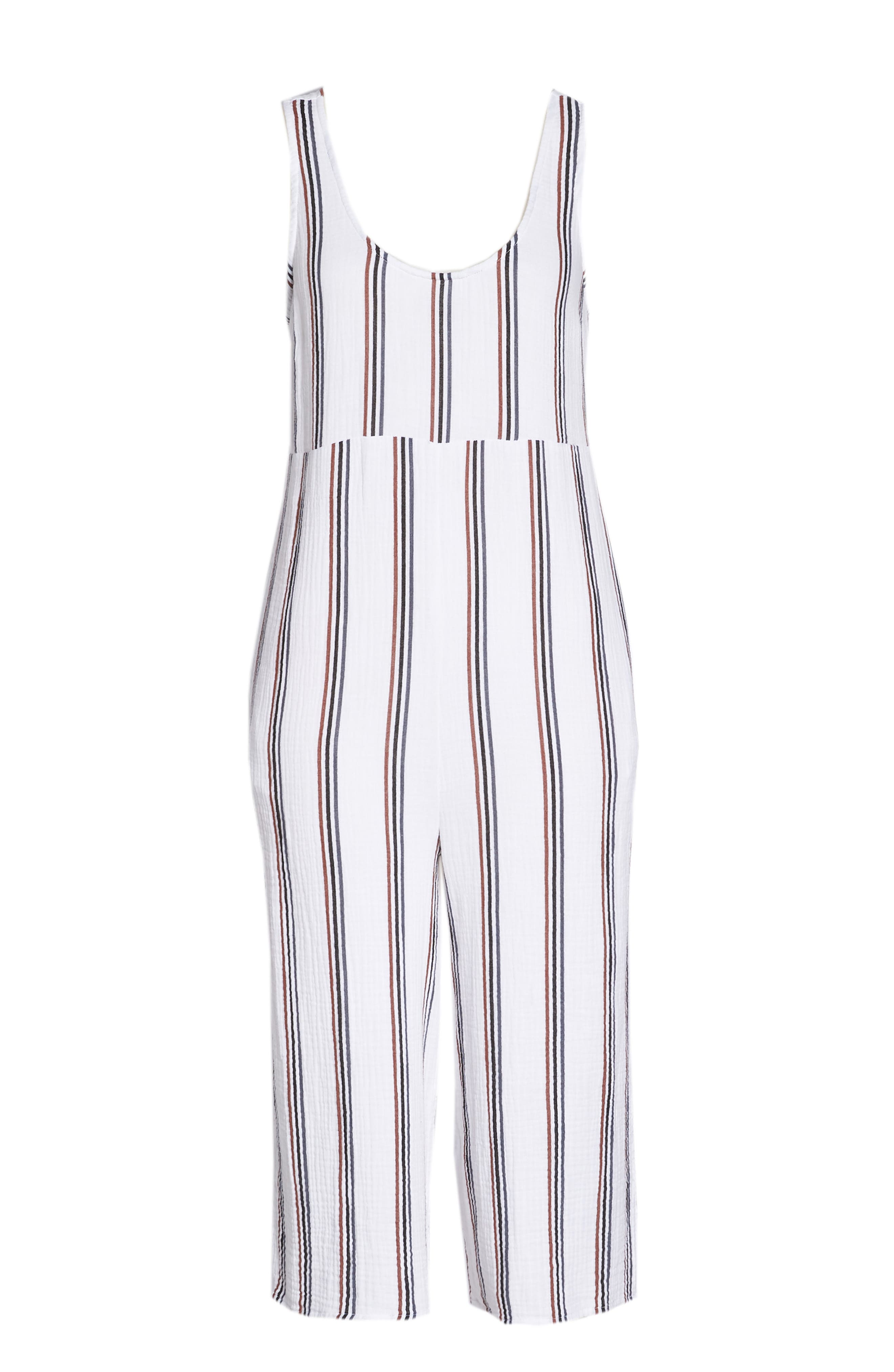 Ramona Cover-Up Jumpsuit,                             Alternate thumbnail 6, color,                             WHITE STRIPE