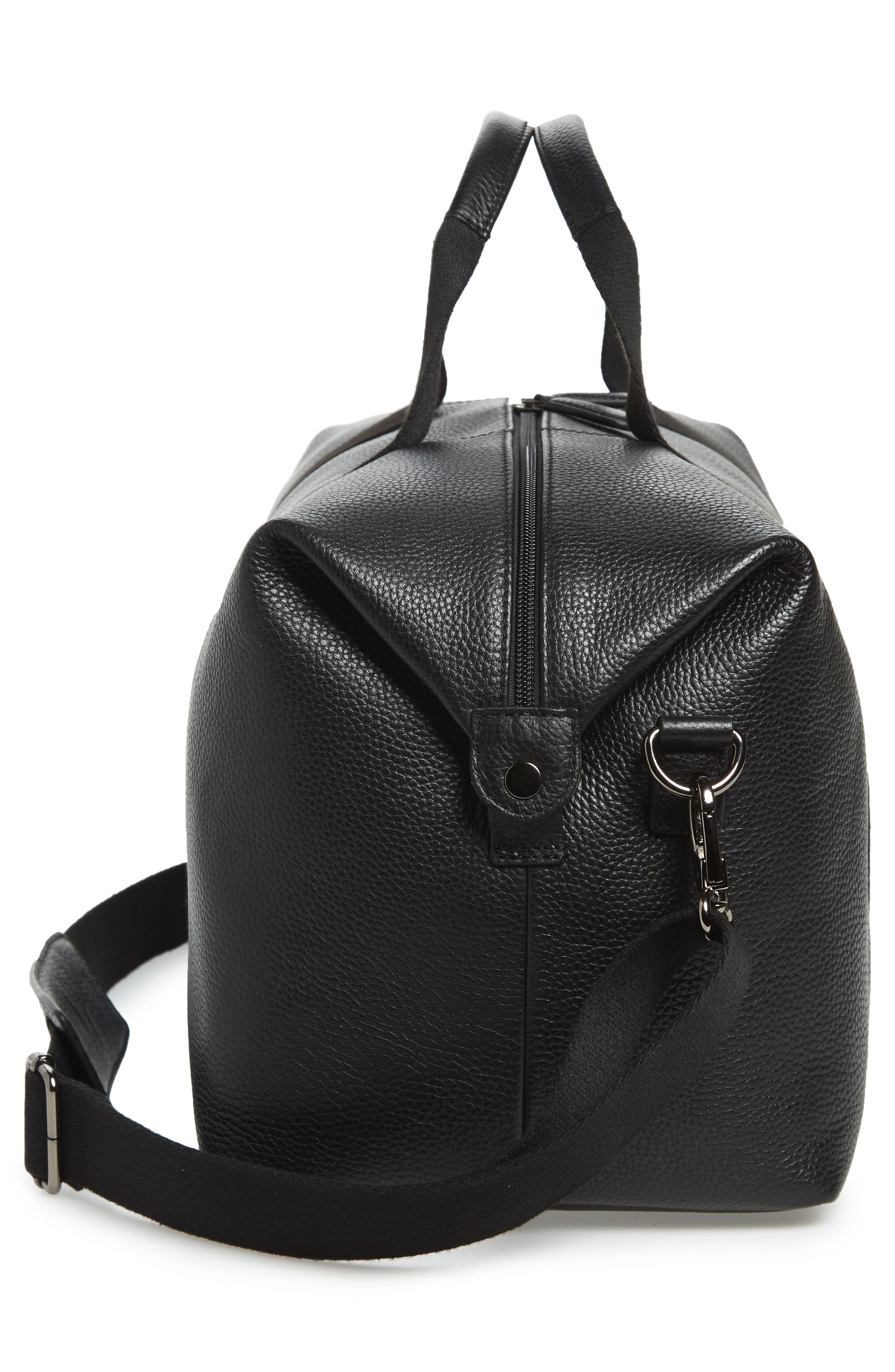 Holding Leather Duffel Bag,                             Alternate thumbnail 5, color,                             BLACK