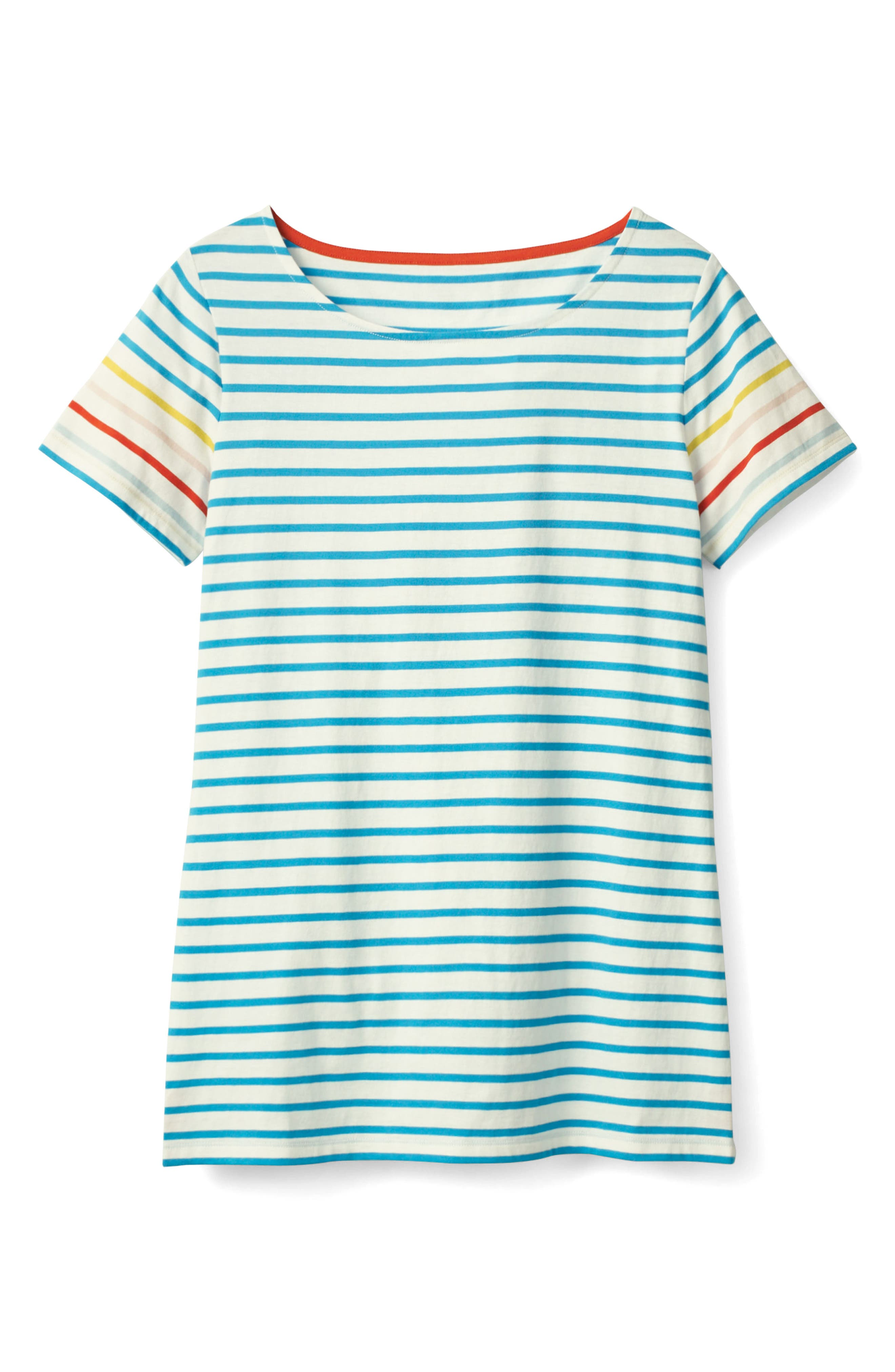 Breton Short Sleeve Stripe Cotton Top,                             Alternate thumbnail 4, color,                             454