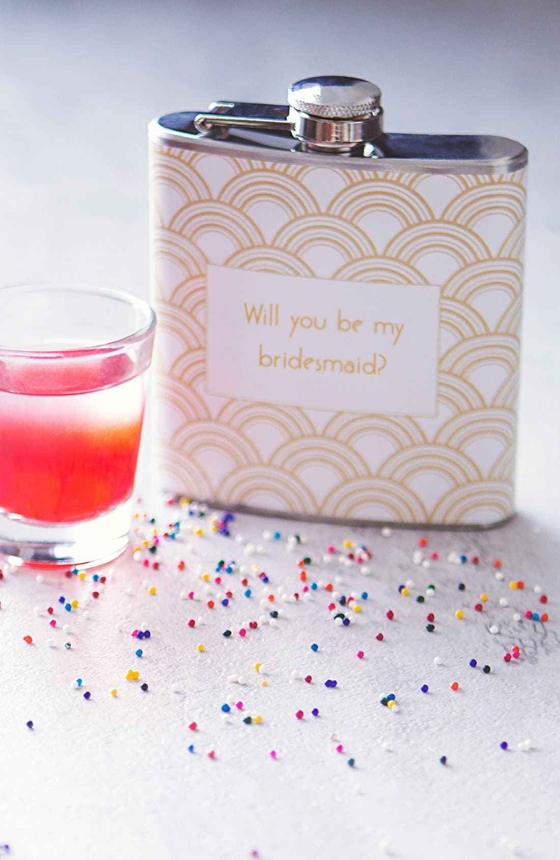 'Will You Be My Bridesmaid?' Print Flask,                         Main,                         color,