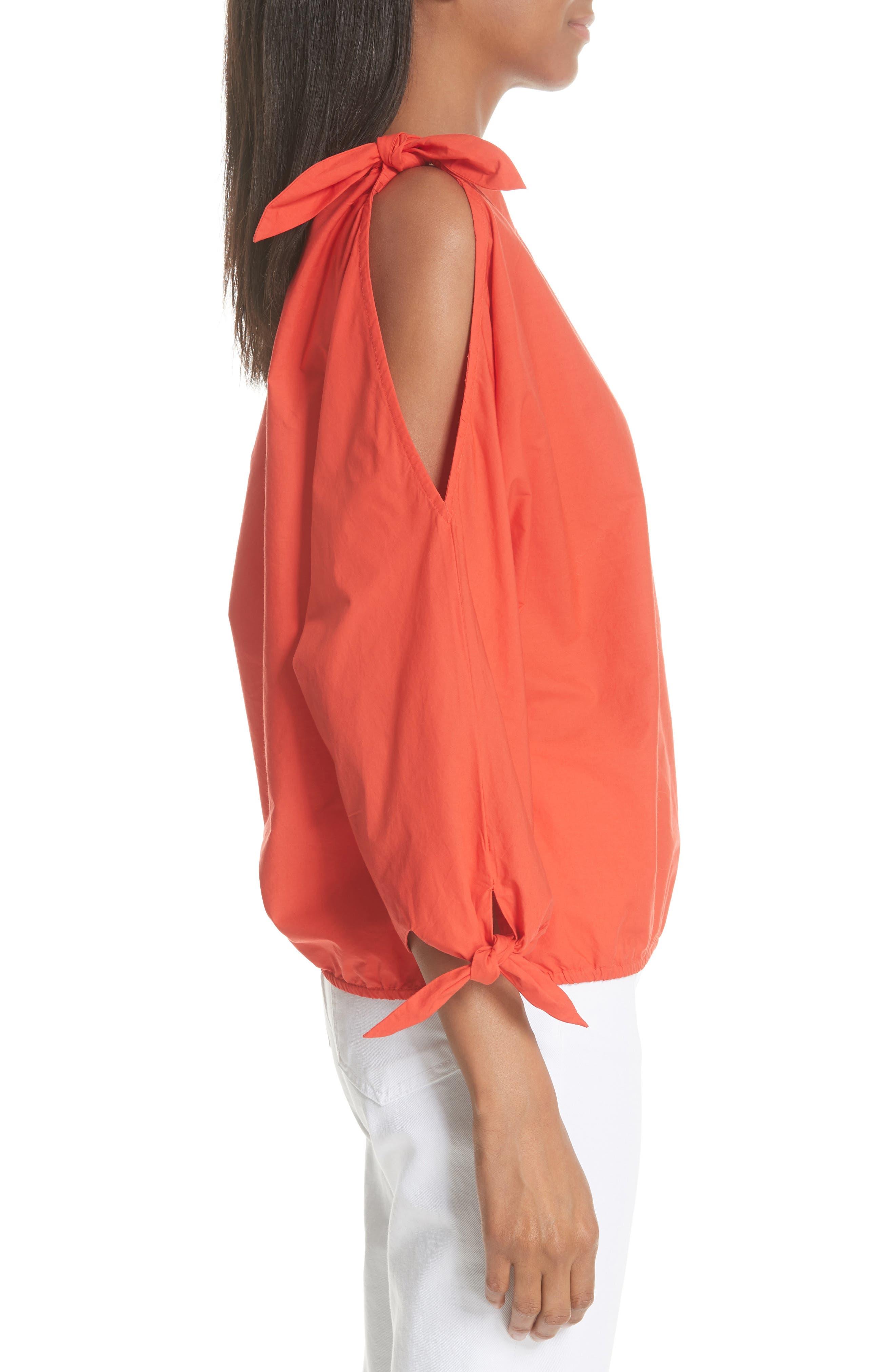 Colissa One-Shoulder Cotton Blouse,                             Alternate thumbnail 3, color,                             800