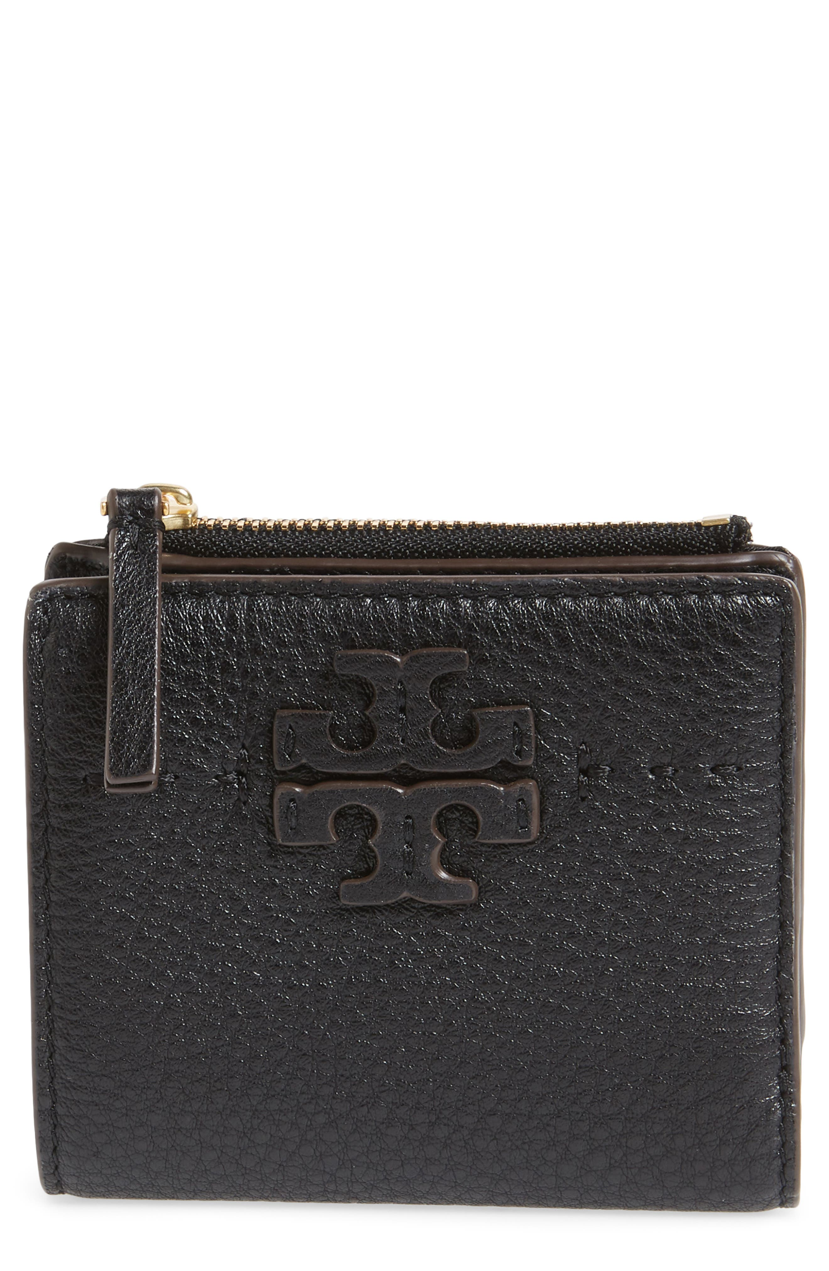 TORY BURCH McGraw Leather Bifold Wallet, Main, color, 001