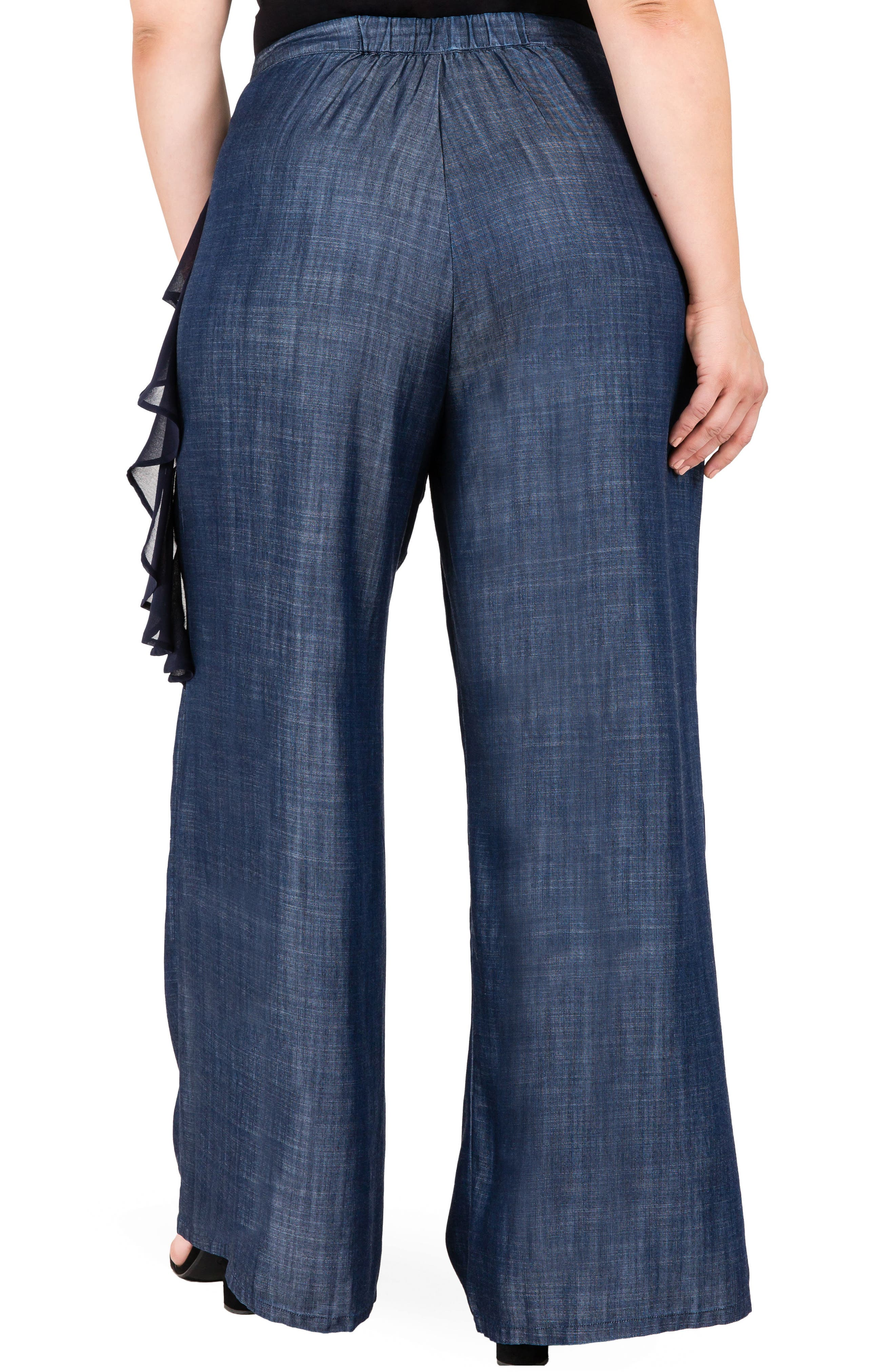 Olga Wide Leg Denim Pants,                             Alternate thumbnail 2, color,                             INDIGO