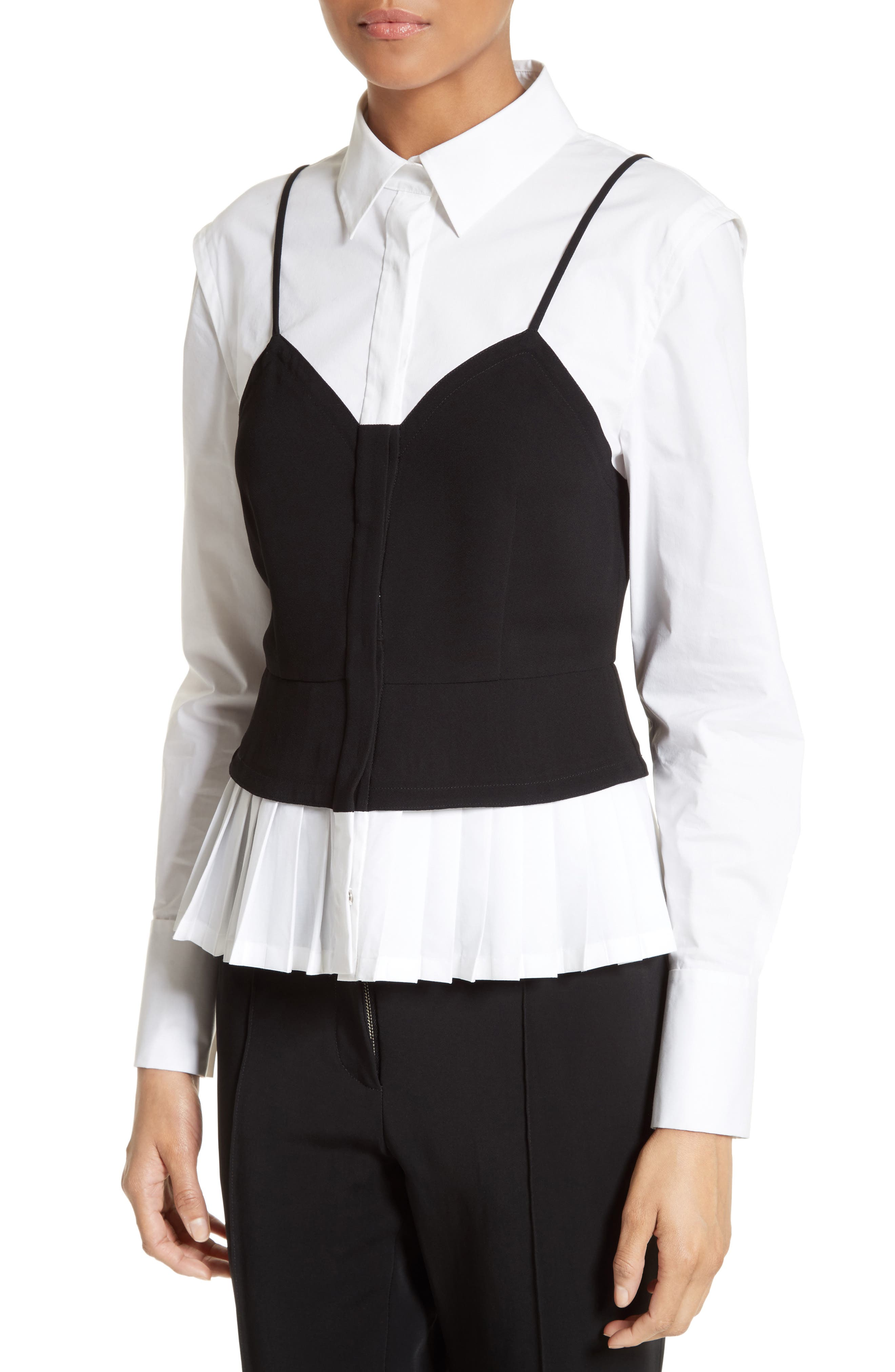 Layered Bustier Blouse,                             Alternate thumbnail 4, color,                             001