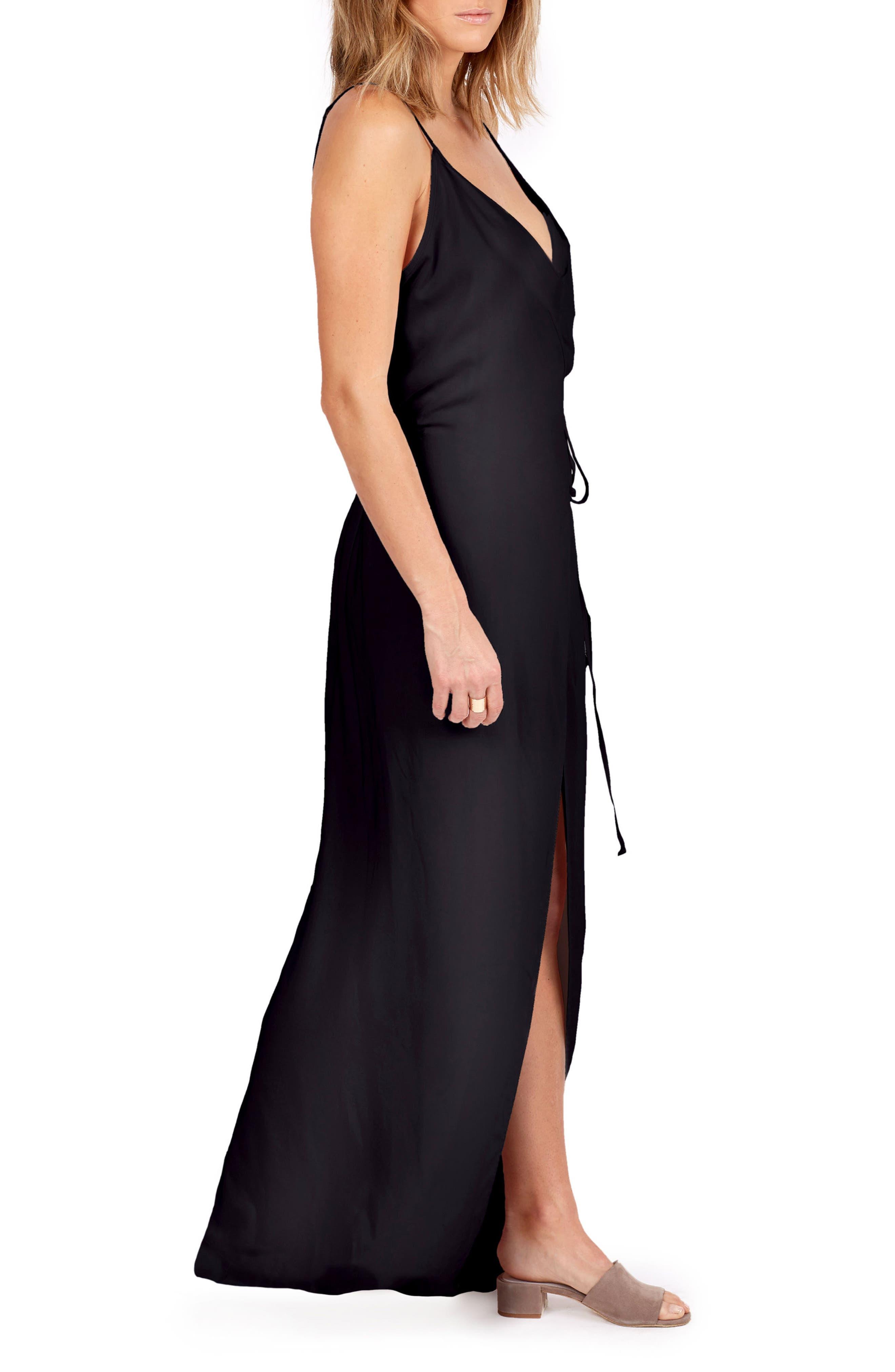 Leo Wrap Maxi Dress,                             Alternate thumbnail 3, color,                             001
