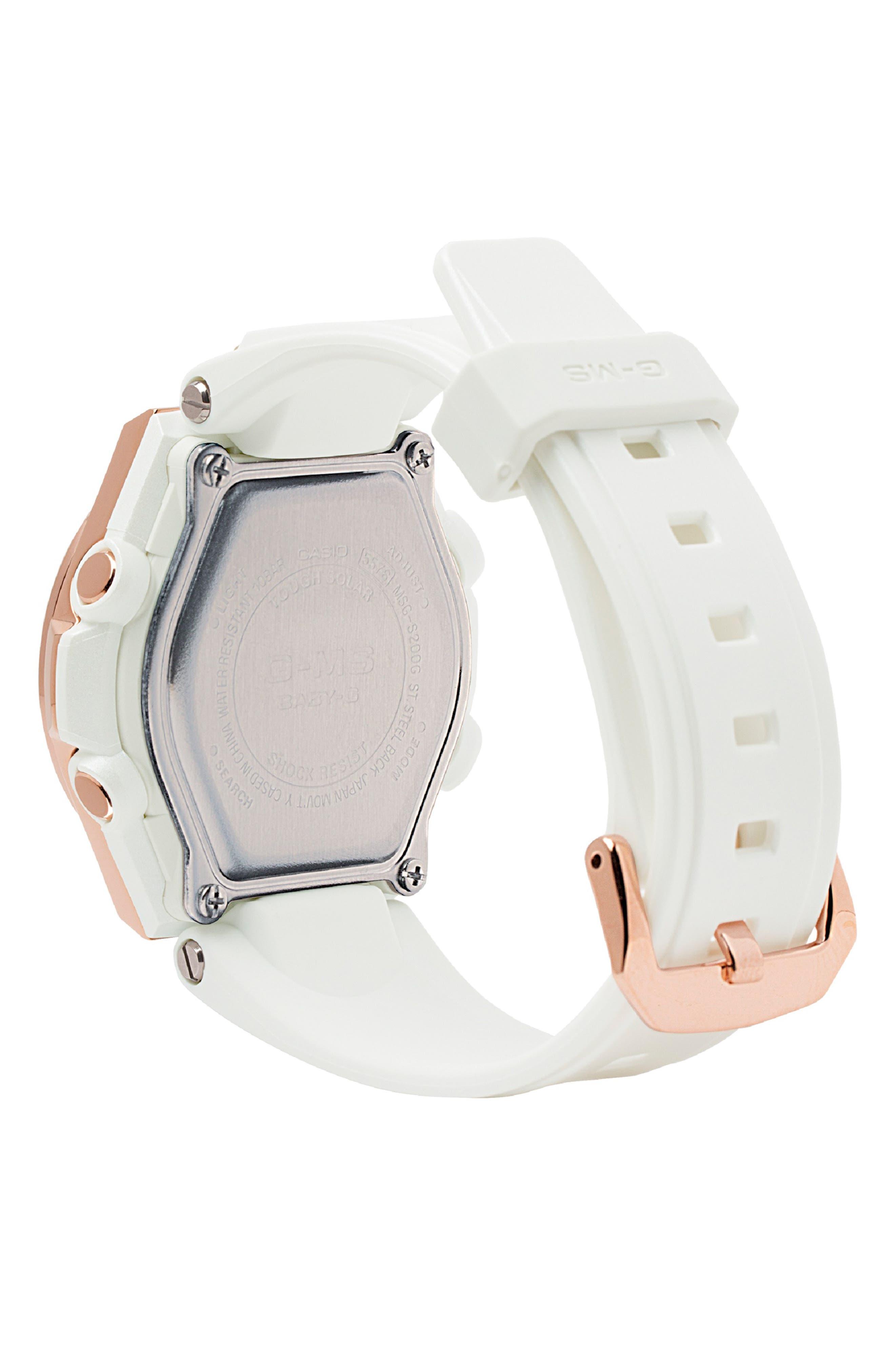 G-Shock G-MS Ana-Digi Resin Strap Watch, 38mm,                             Alternate thumbnail 2, color,                             WHITE/ GREY/ ROSE GOLD