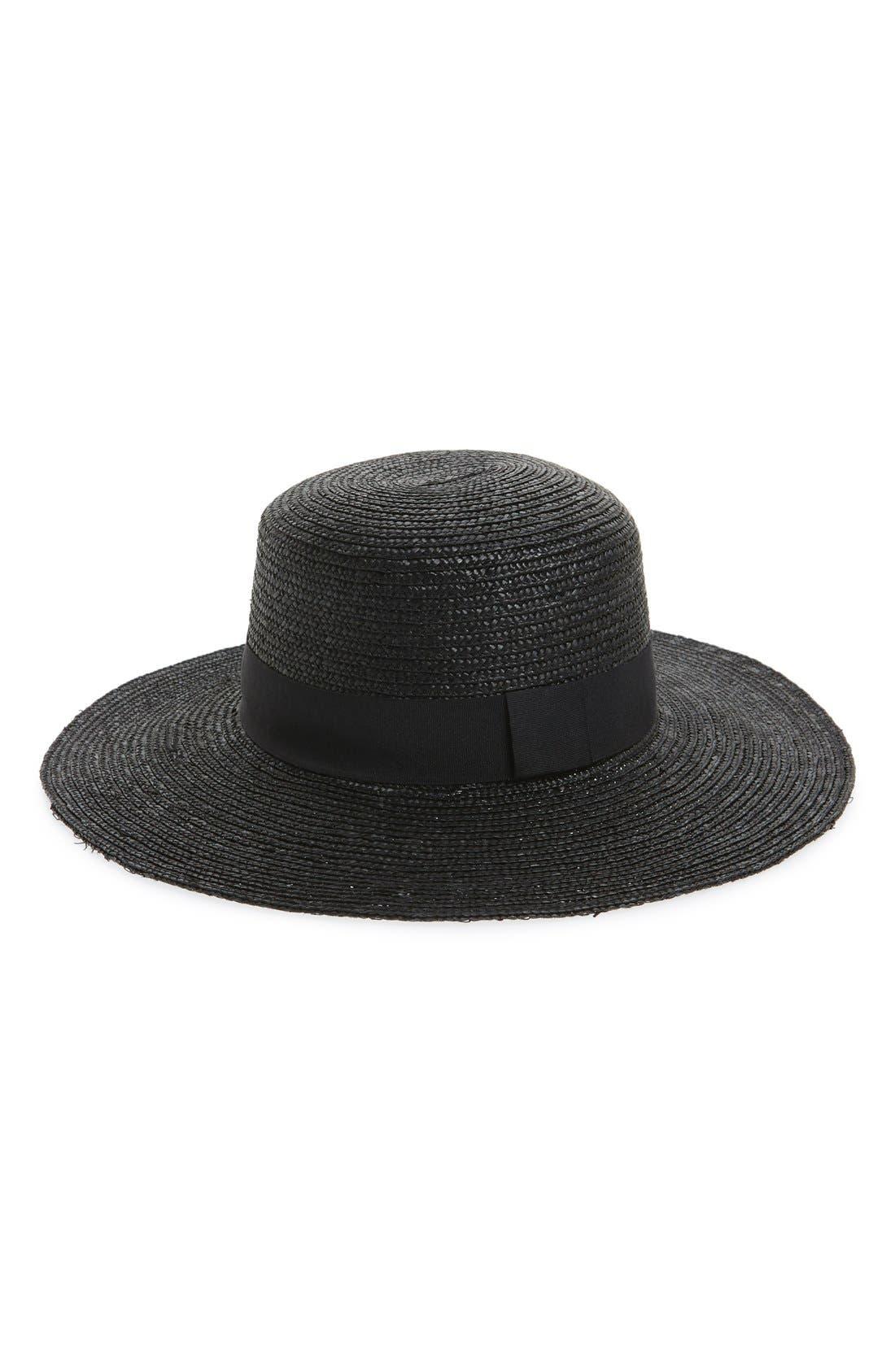 Wide Brim Boater Hat,                             Main thumbnail 1, color,                             001