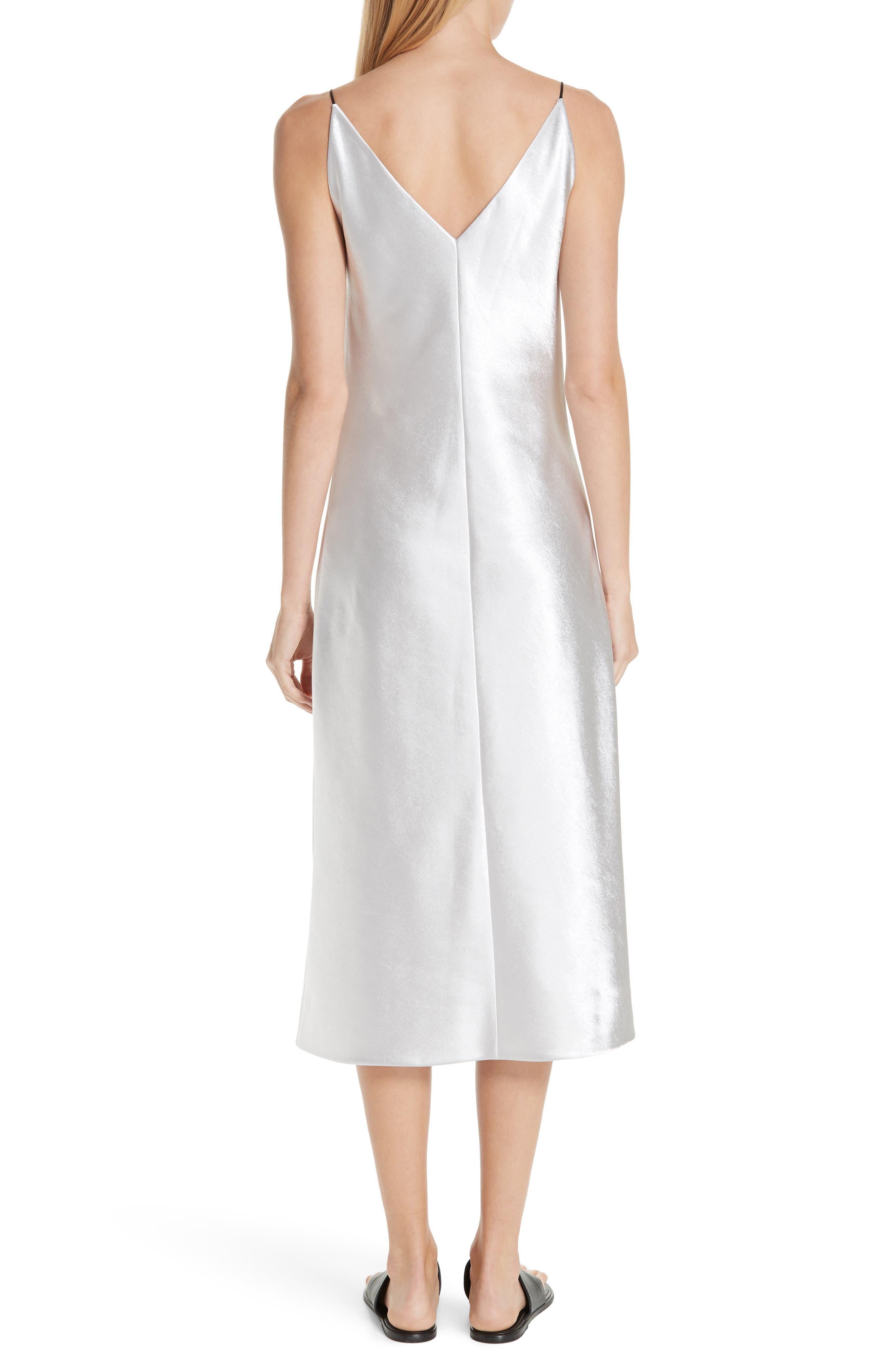 V-neck Bias Cut Dress,                             Alternate thumbnail 2, color,                             SILVER