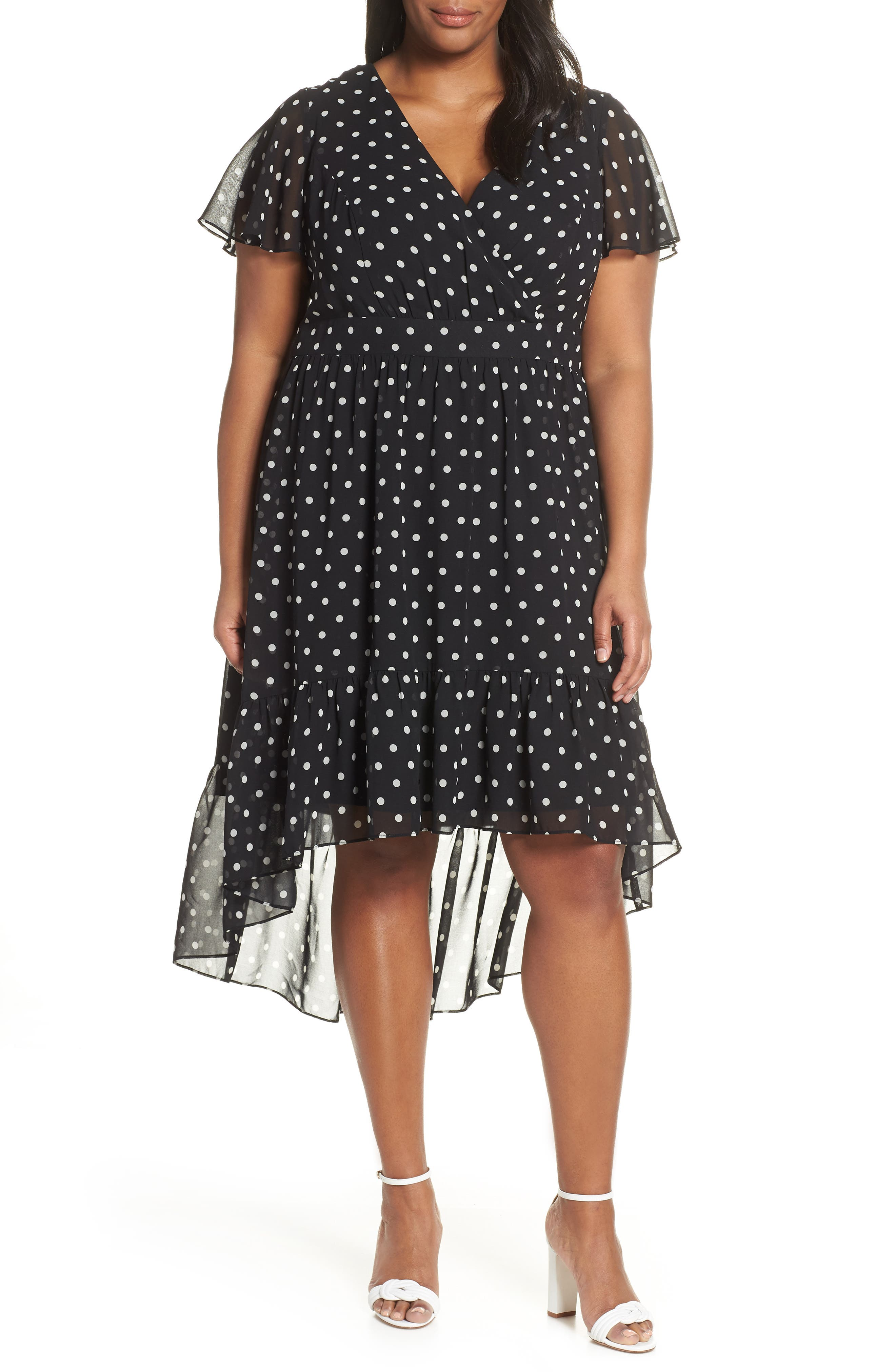 Plus Size Vince Camuto Print High/low Chiffon Dress, Black