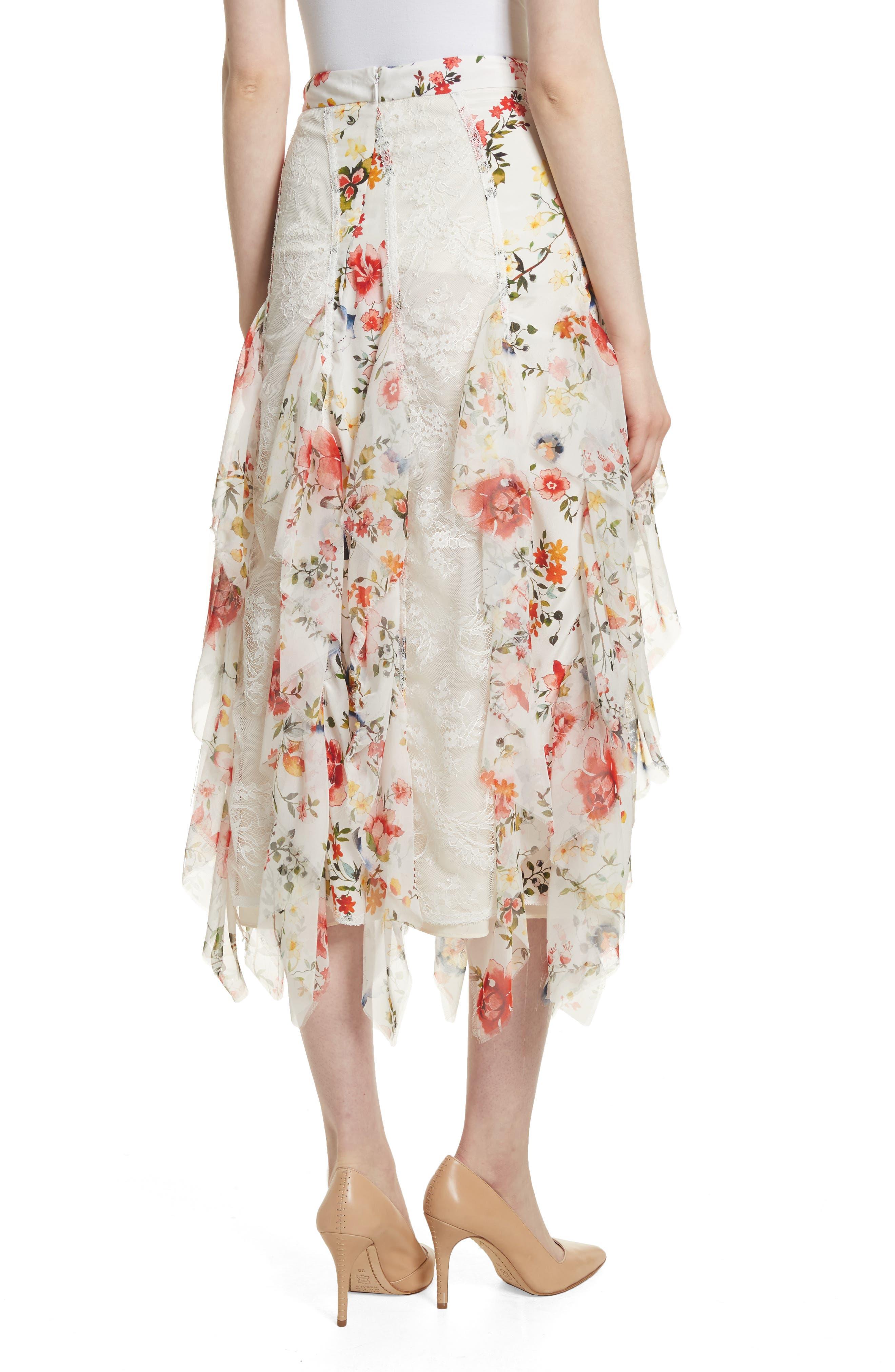 Yula Floral Silk & Lace Midi Skirt,                             Alternate thumbnail 2, color,                             908