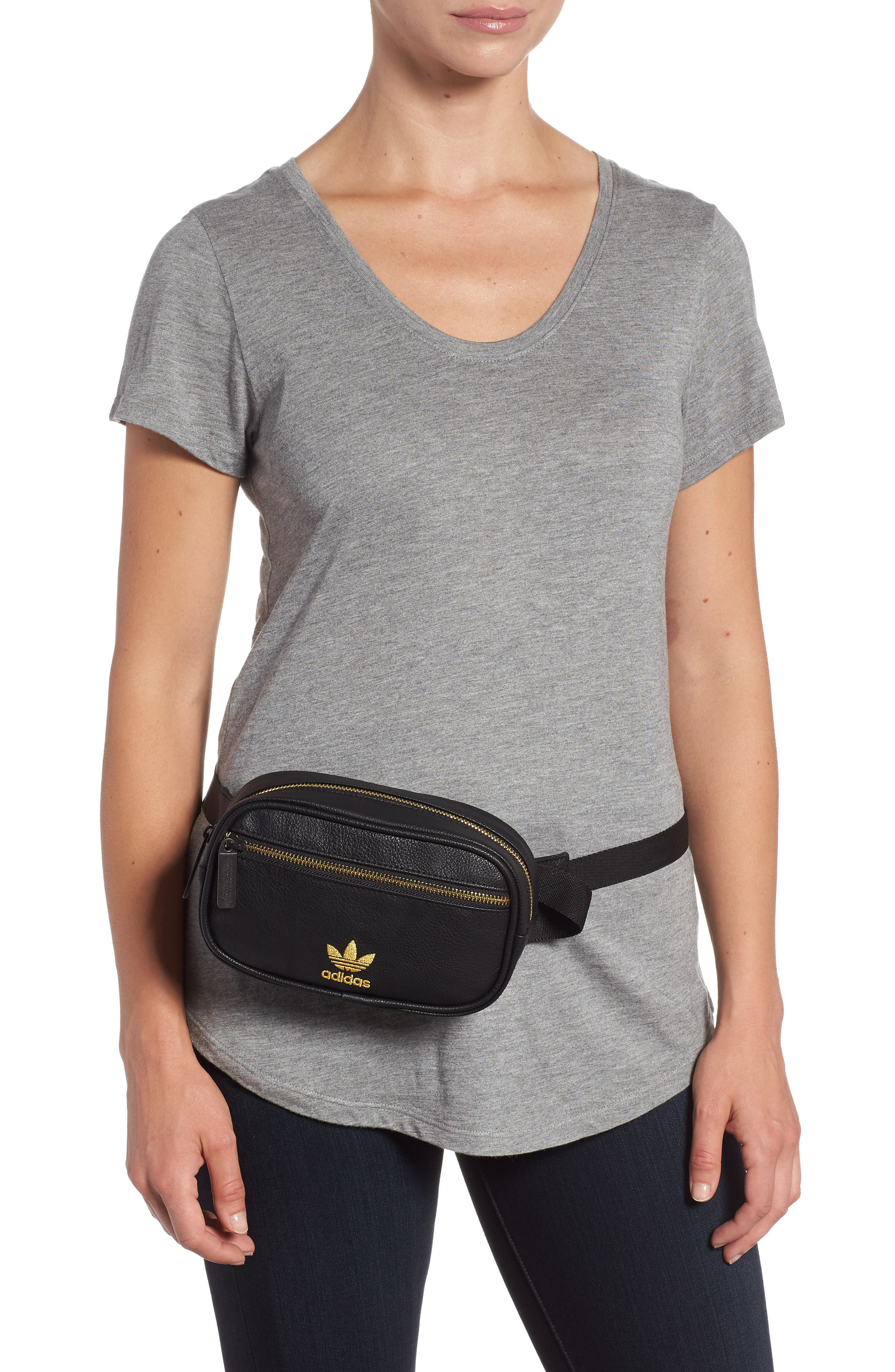 adidas Ori Faux Leather Fanny Pack,                             Alternate thumbnail 2, color,                             001