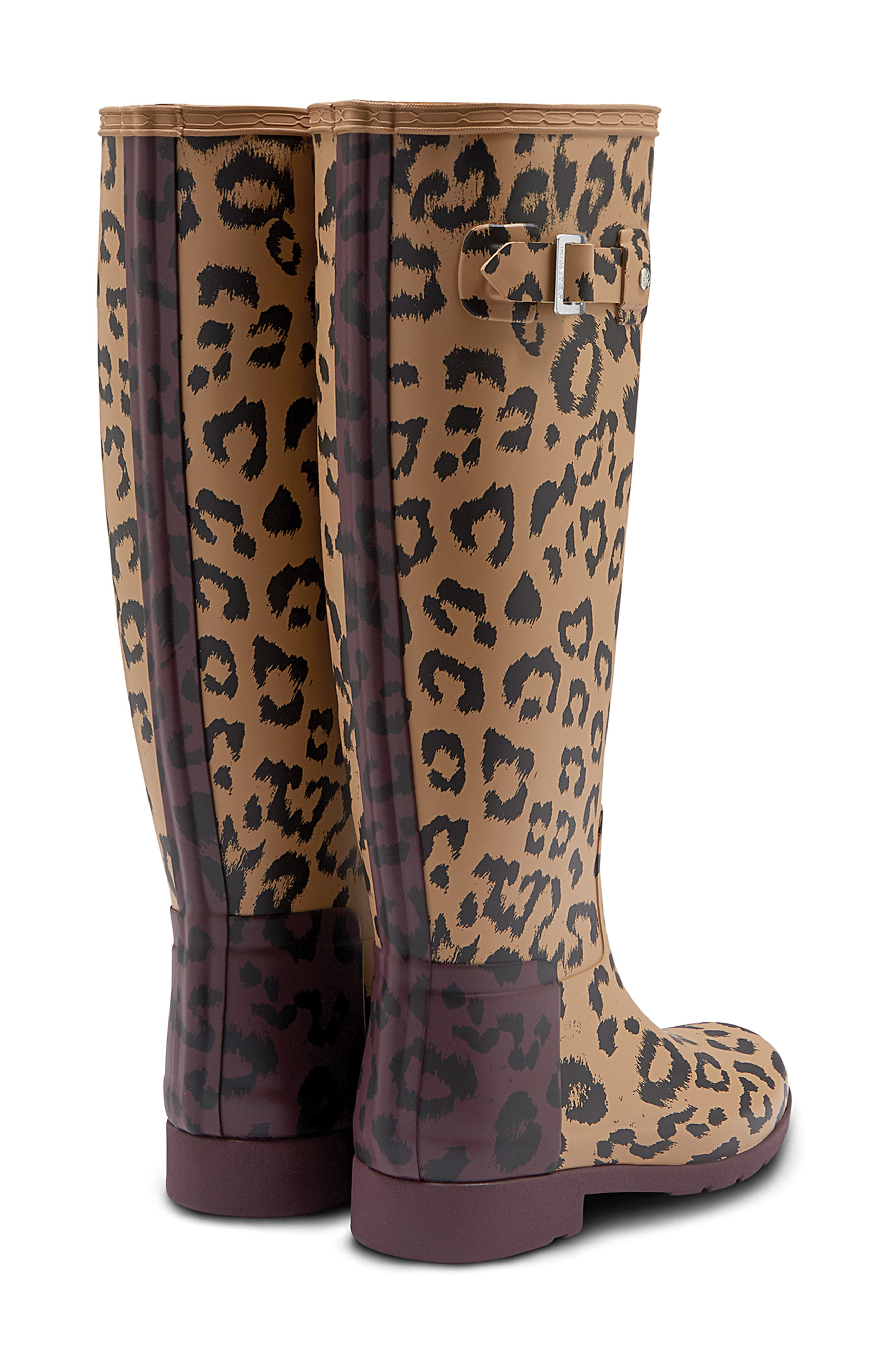 Original Leopard Print Refined Tall Waterproof Rain Boot,                             Alternate thumbnail 2, color,                             TAWNY/ OXBLOOD RUBBER