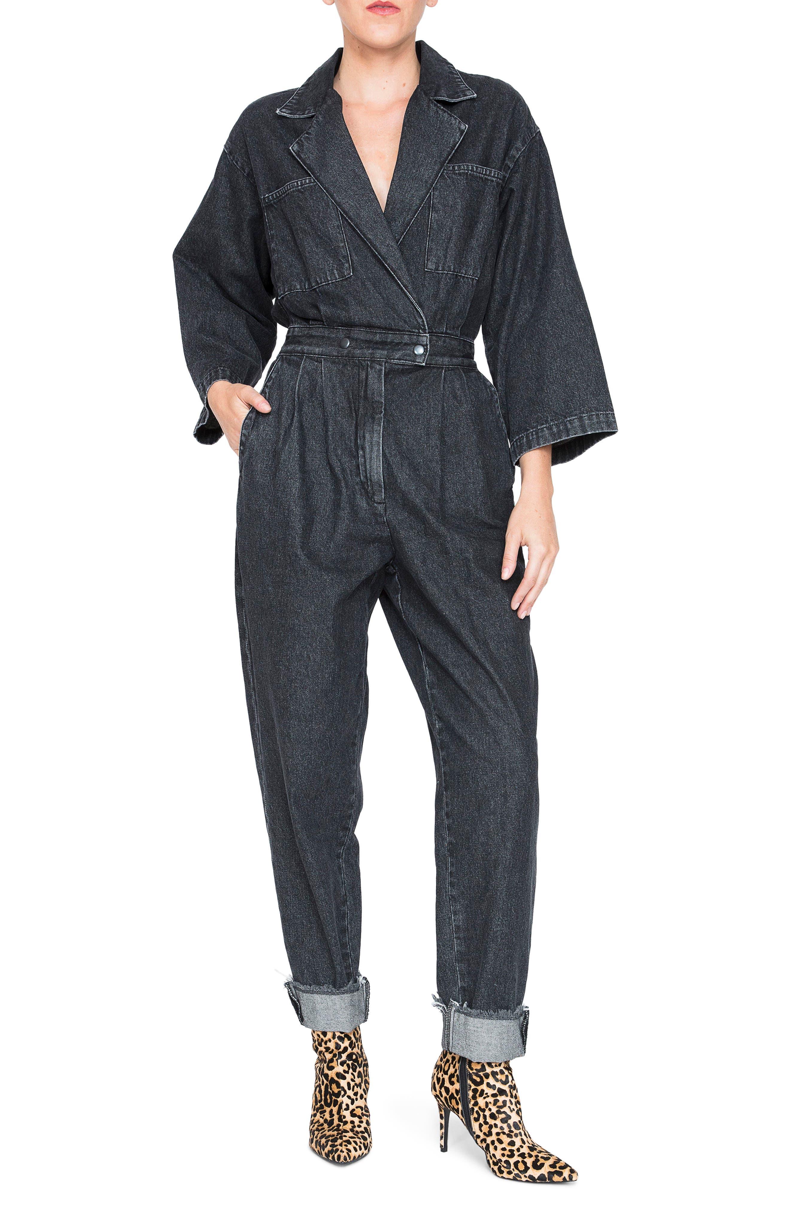 Denim Jumpsuit,                         Main,                         color, 001
