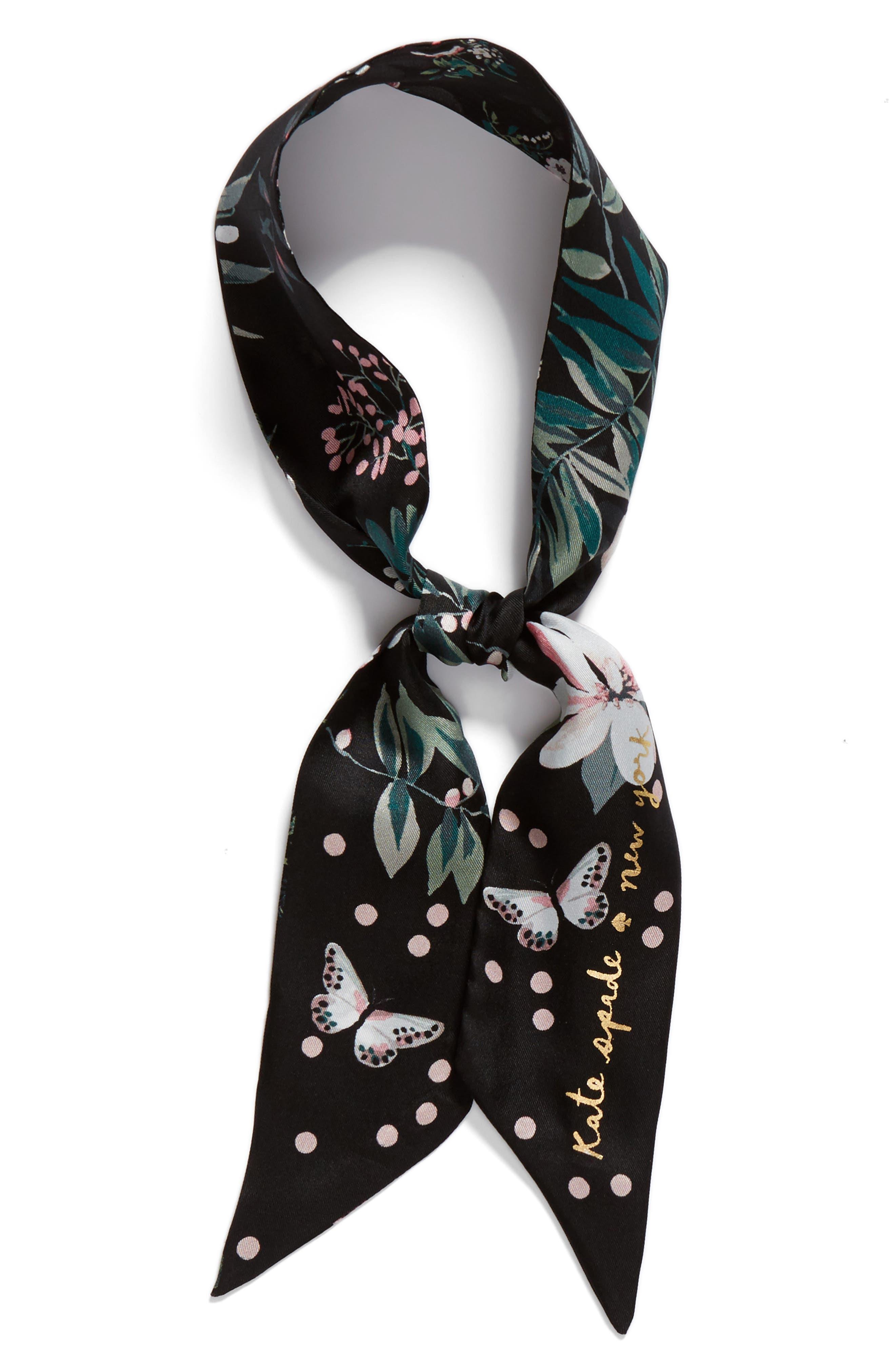 flora skinny silk scarf,                             Alternate thumbnail 2, color,                             001