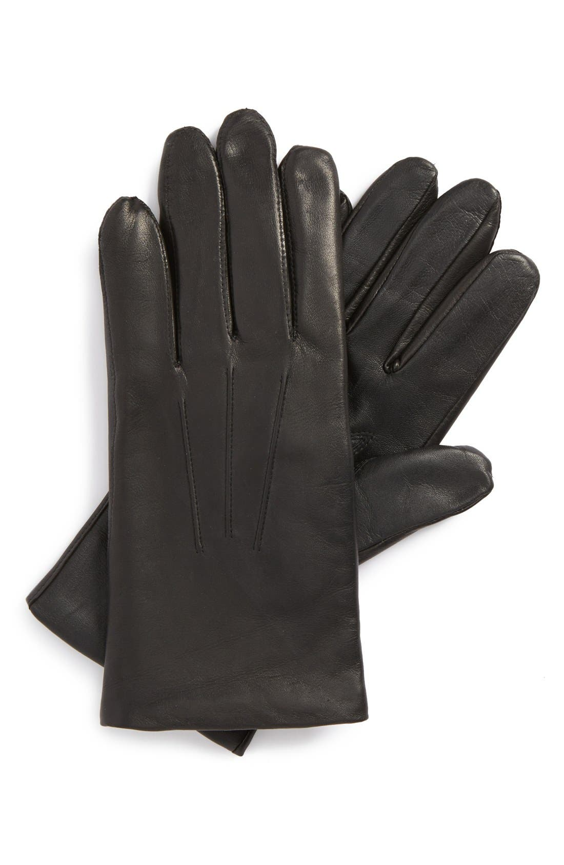 Leather Tech Gloves,                             Main thumbnail 1, color,                             001