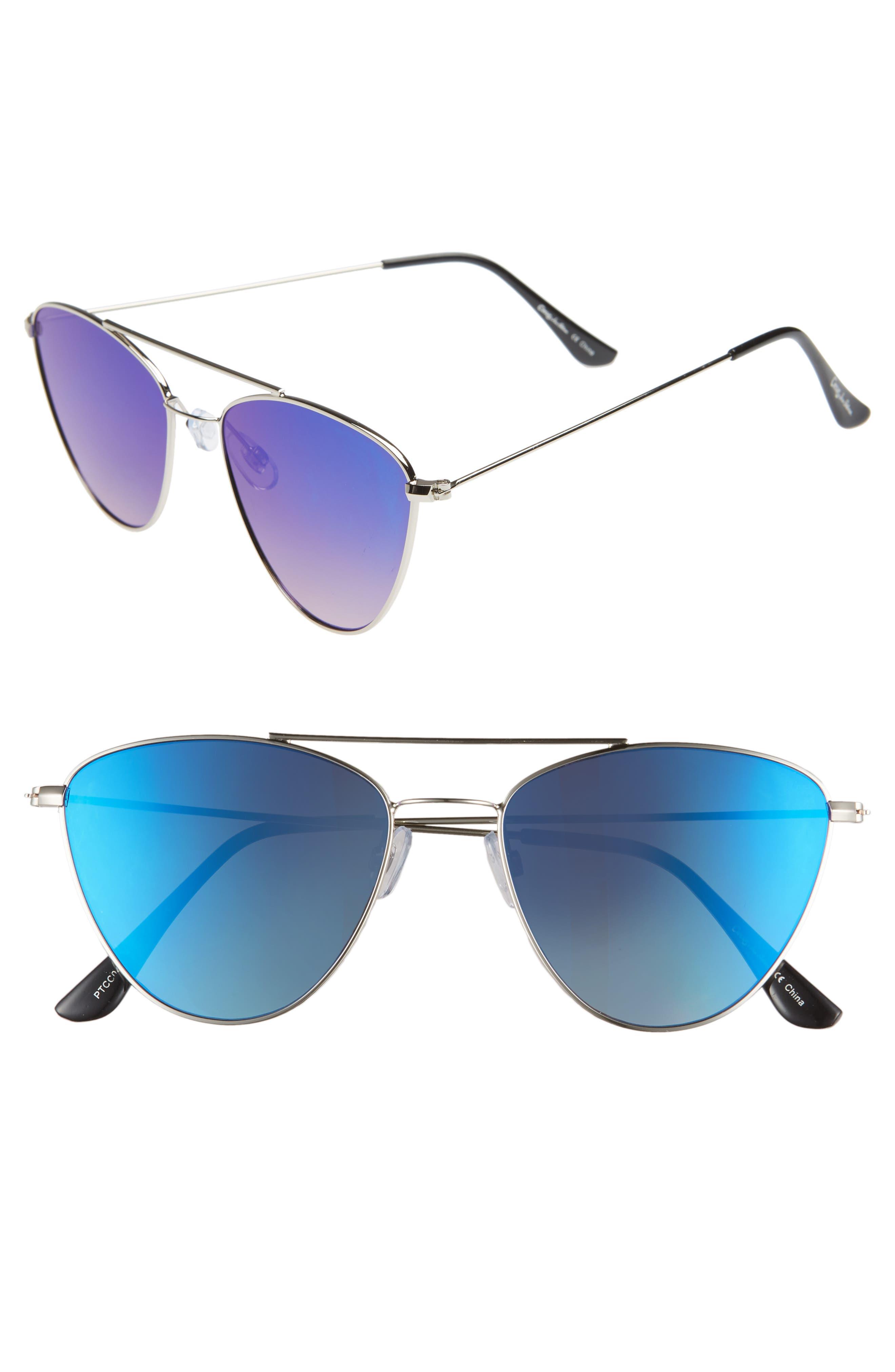 CIRCUS BY SAM EDELMAN 57Mm Mirrored Cat Eye Sunglasses - Silver/ Blue Mirror