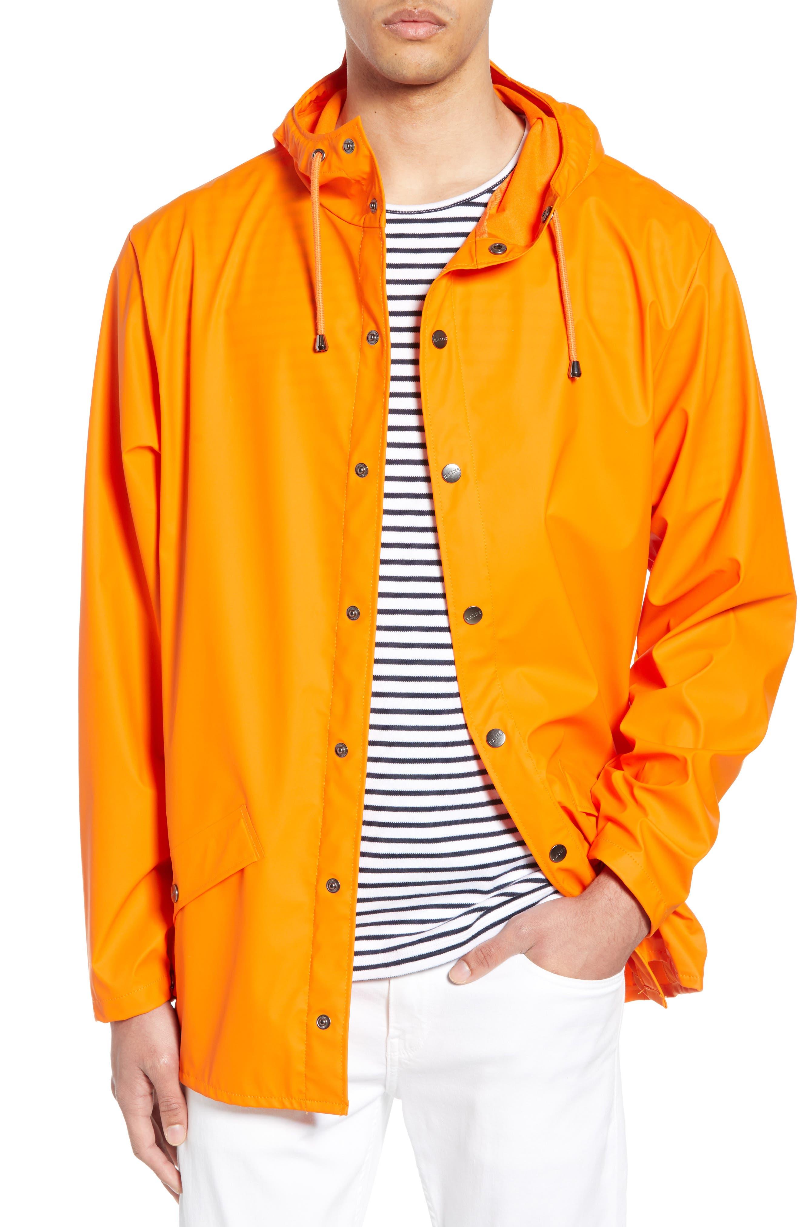 Rains Lightweight Hooded Rain Jacket, Orange