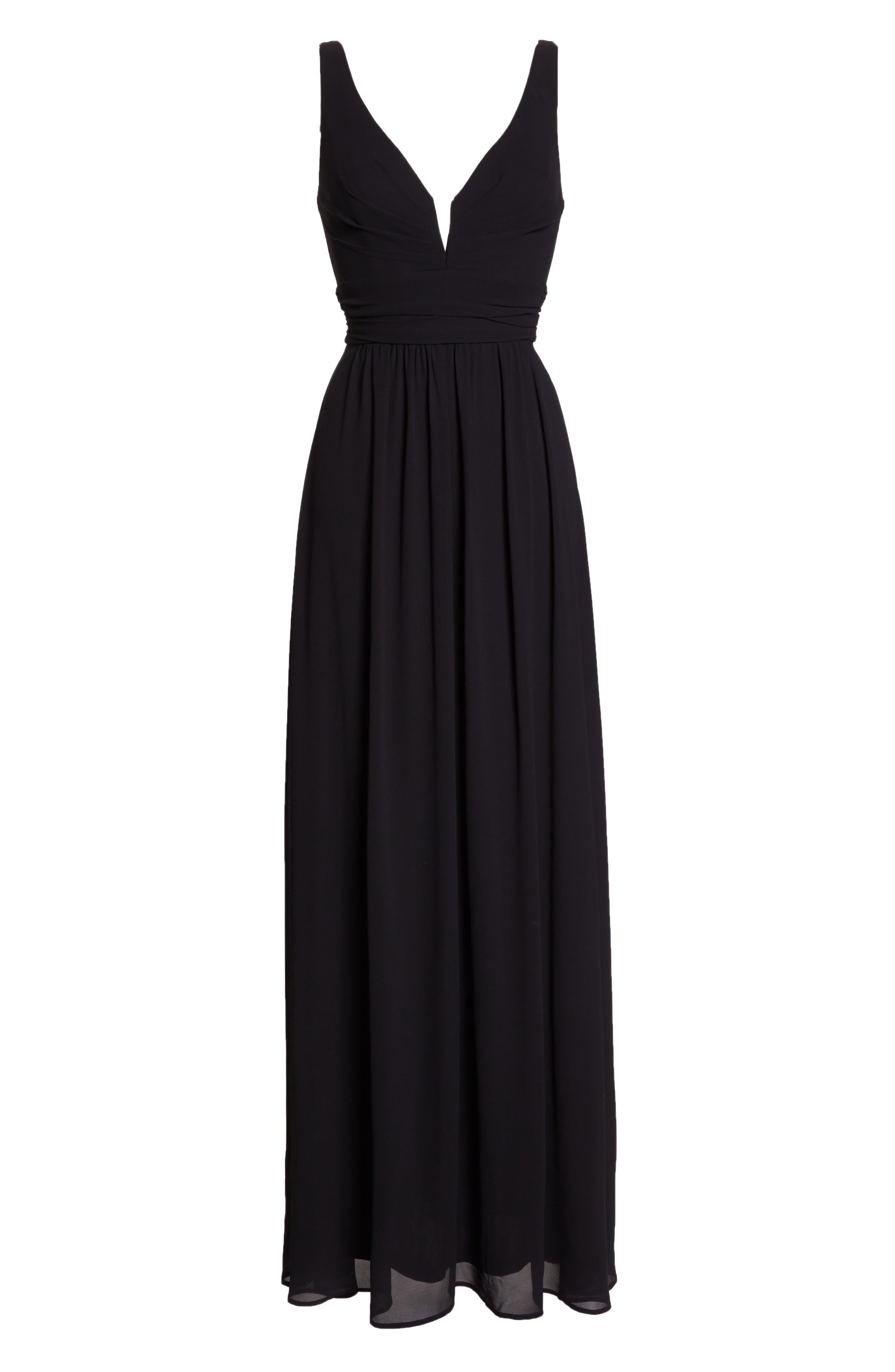 V-Neck Chiffon Gown,                             Alternate thumbnail 7, color,                             BLACK