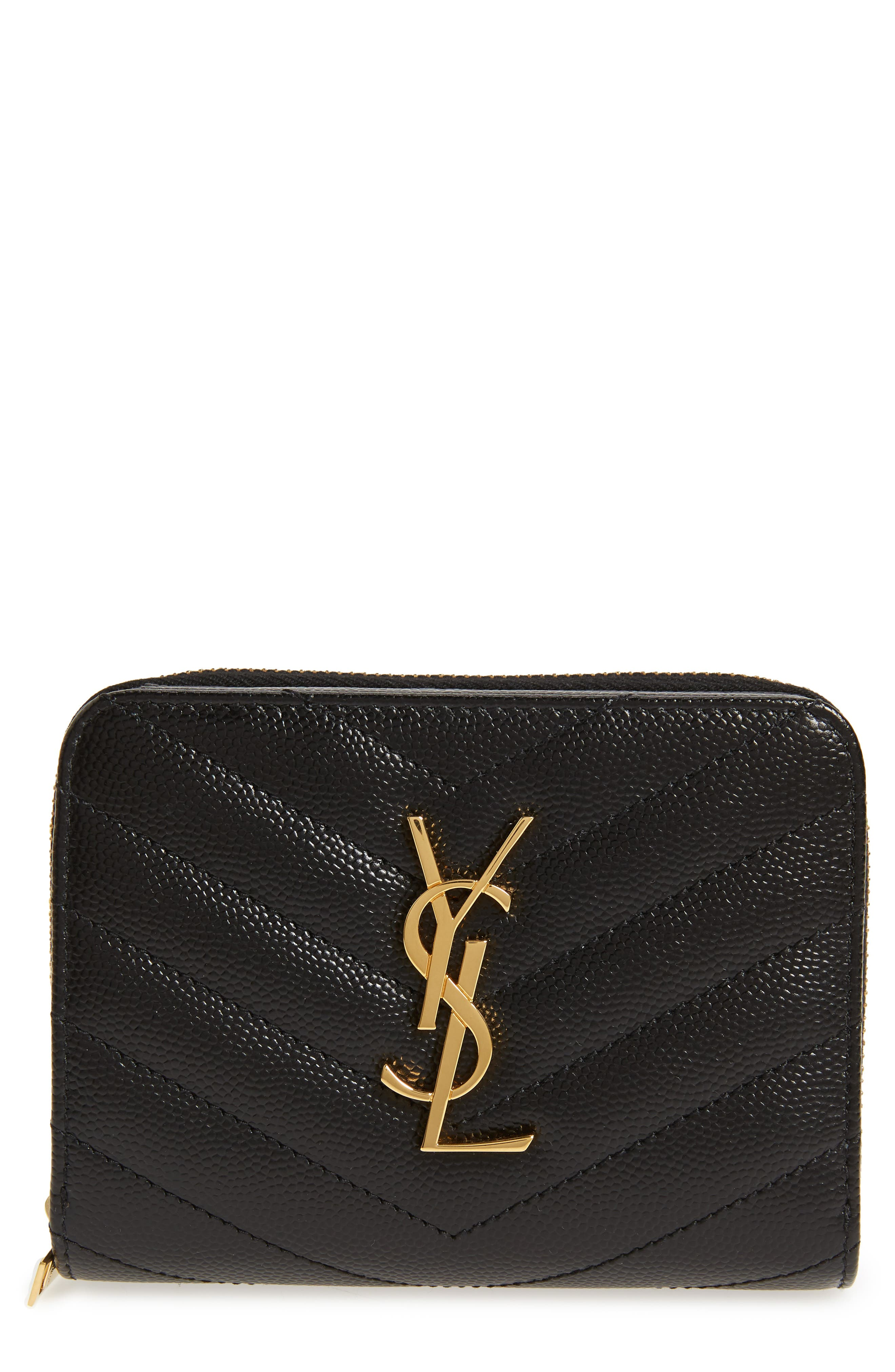 Monogramme Compact Quilted Zip Around Wallet,                             Main thumbnail 1, color,                             NOIR