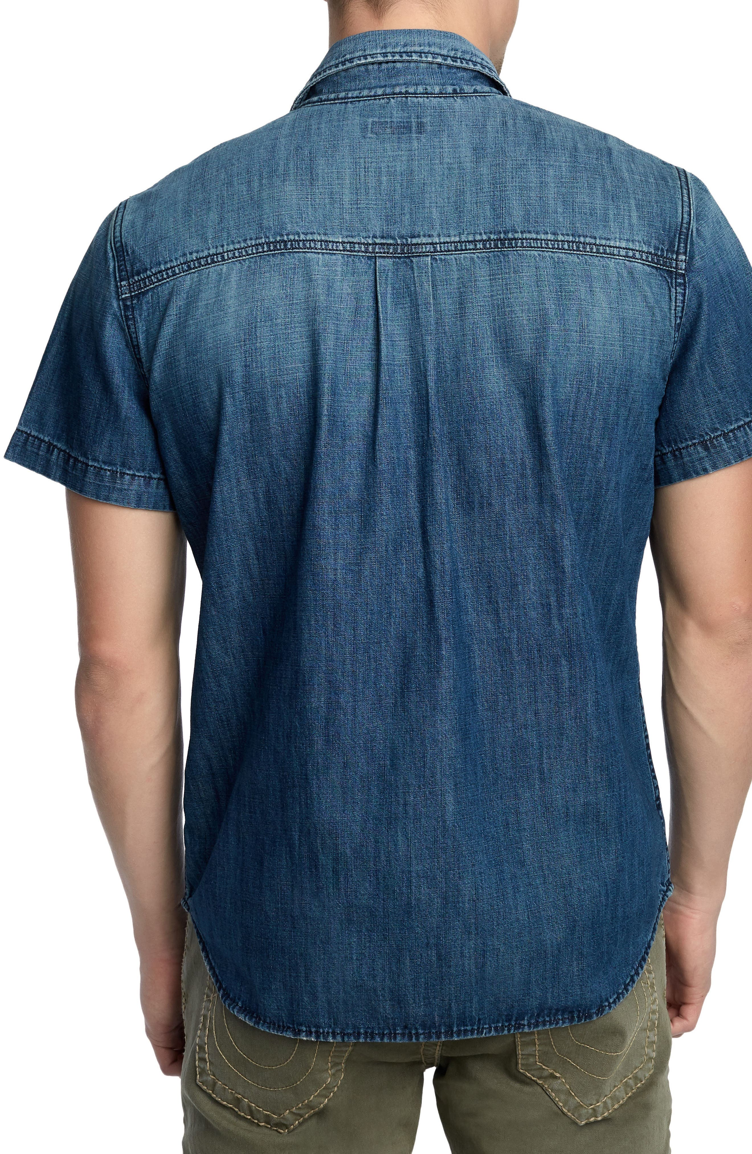 Zip Pocket Denim Shirt,                             Alternate thumbnail 2, color,                             SEA PORT