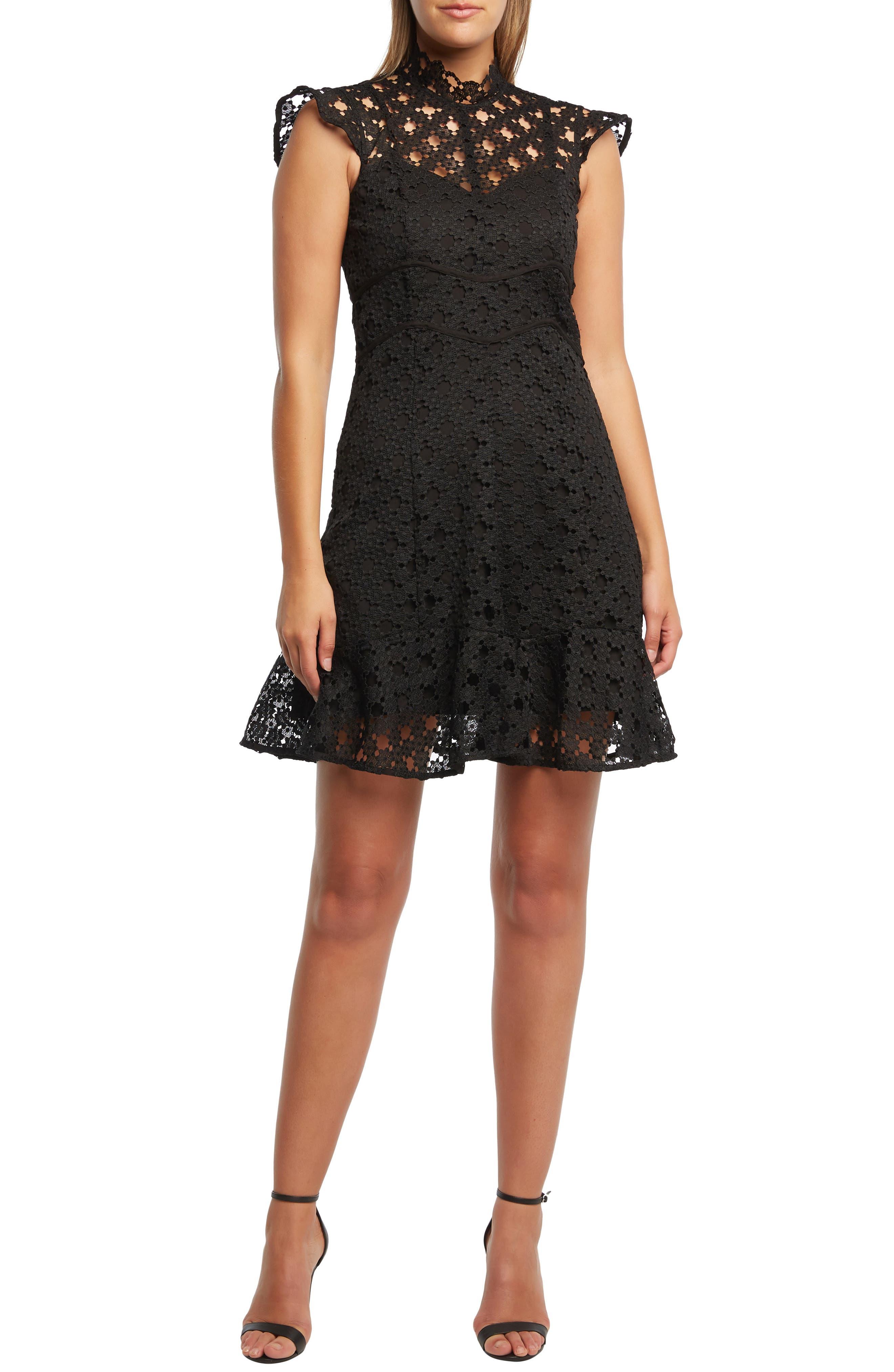 Bardot Mila Lace Party Dress, Black